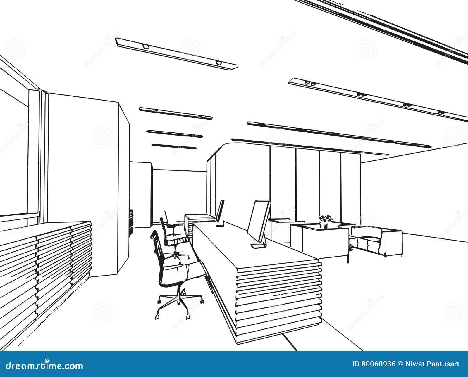 Exemple De Dessin De Piece En Perspective Bureau : Perspective intérieure de dessin croquis d ensemble