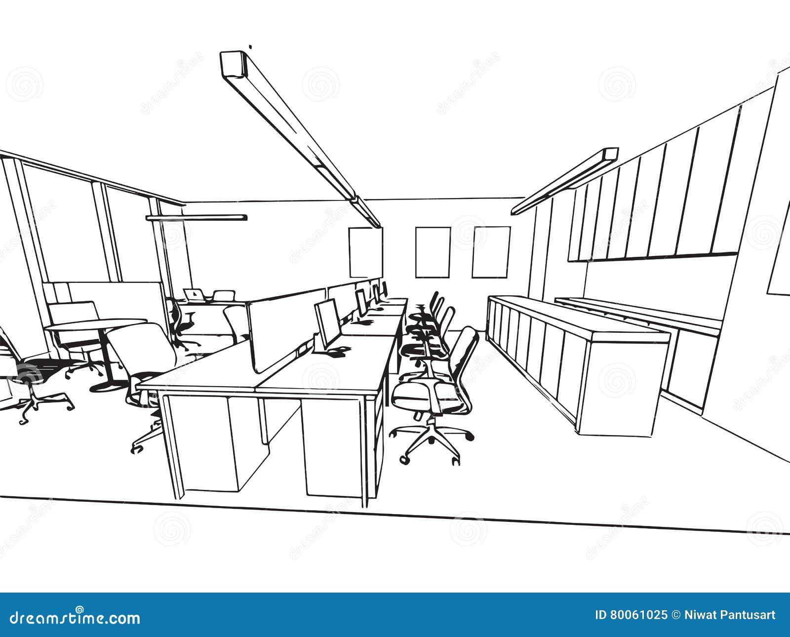 Perspective int rieure de dessin de croquis d 39 ensemble d for Dessin de construction du meuble