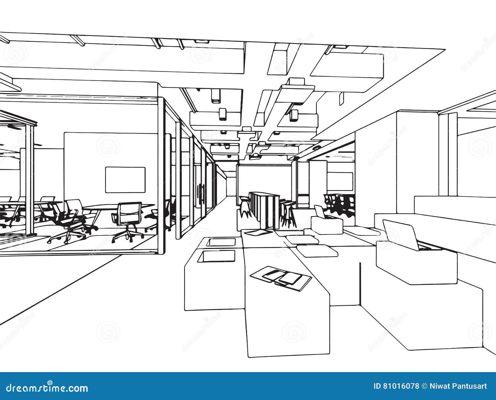 Perspective intérieure de dessin de croquis d ensemble d un bureau de l espace