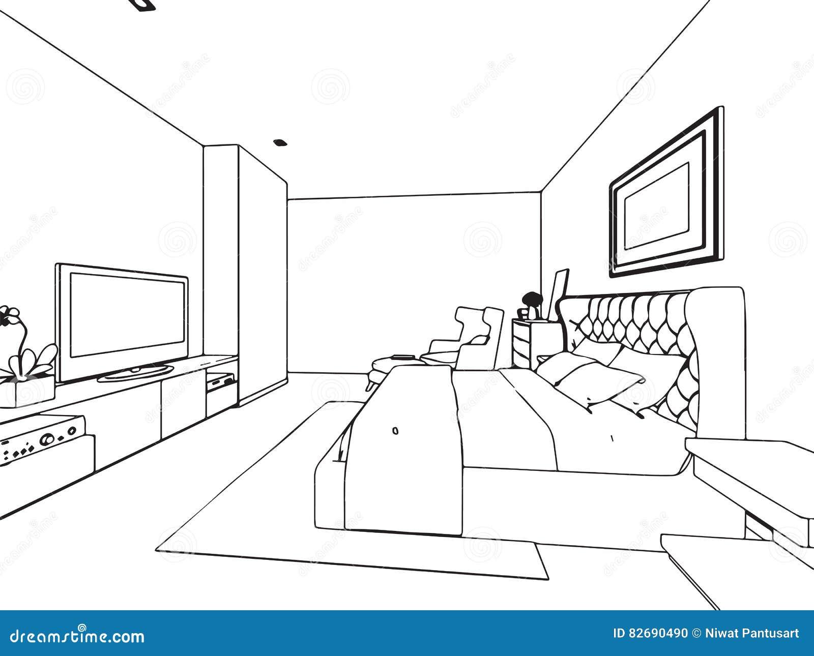 Dessin Perspective Intérieure : Perspective intérieure de dessin croquis d ensemble