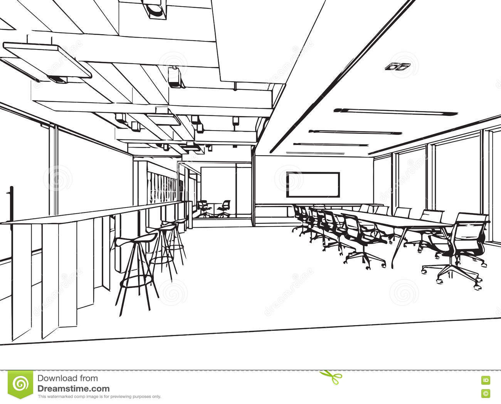 perspective int rieure de dessin de croquis d 39 ensemble d 39 un bureau de l 39 espace illustration de. Black Bedroom Furniture Sets. Home Design Ideas