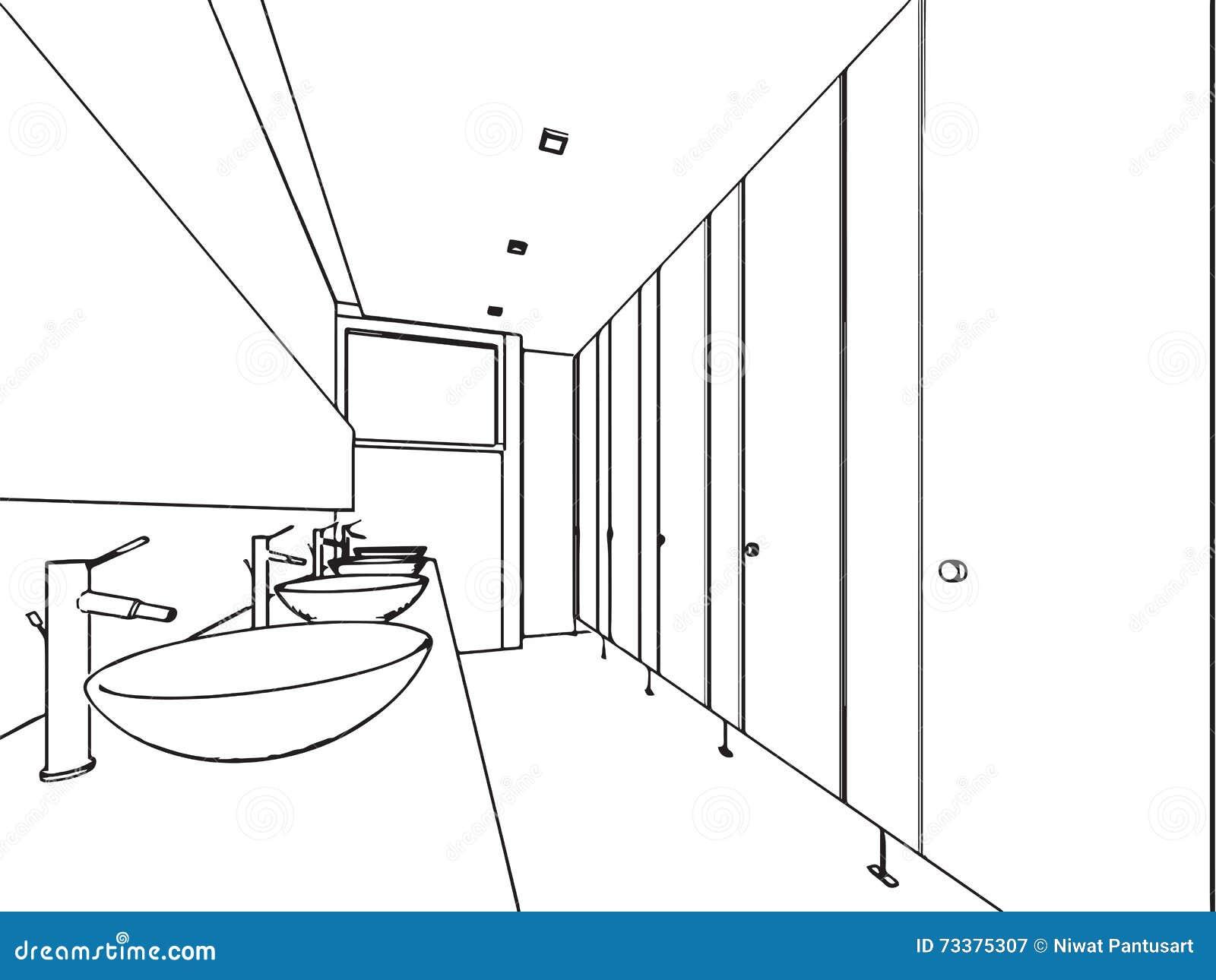 Perspective int rieure de dessin de croquis d 39 ensemble de for Croquis salle de bain