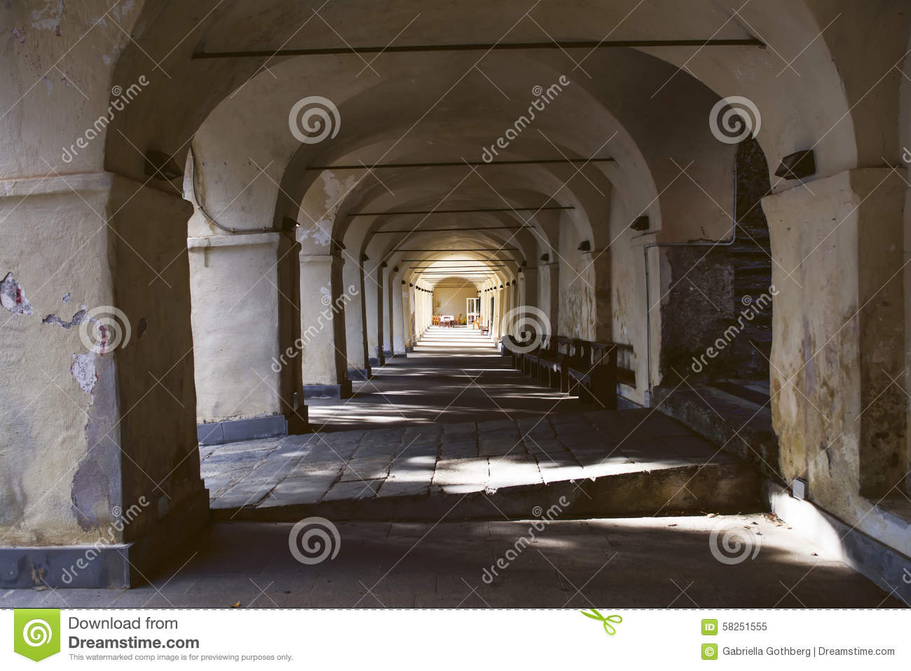 Perspective of stone vaults in old Italian sanctuary