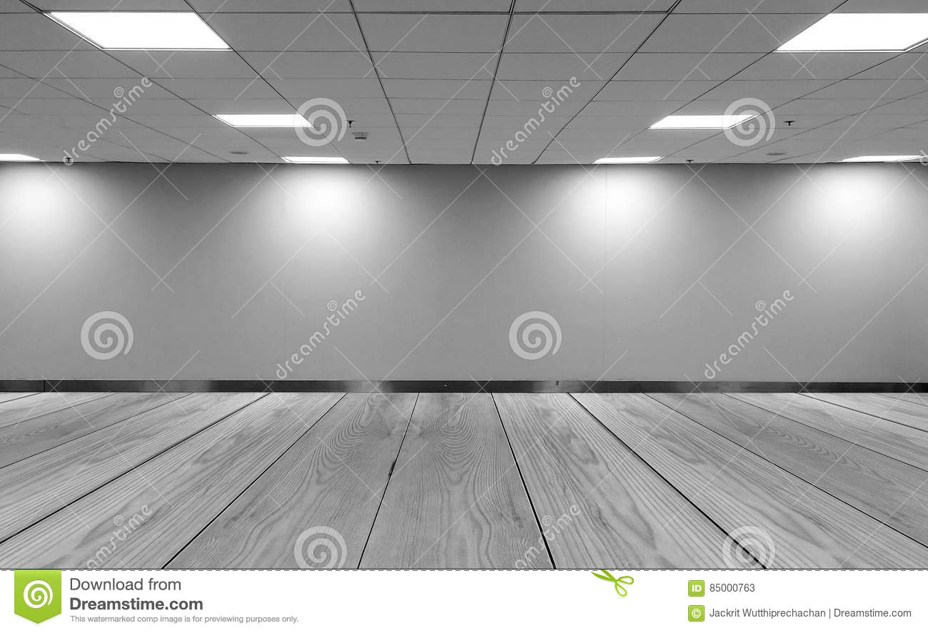 Perspective View Empty Space Monotone Black White Office Room With