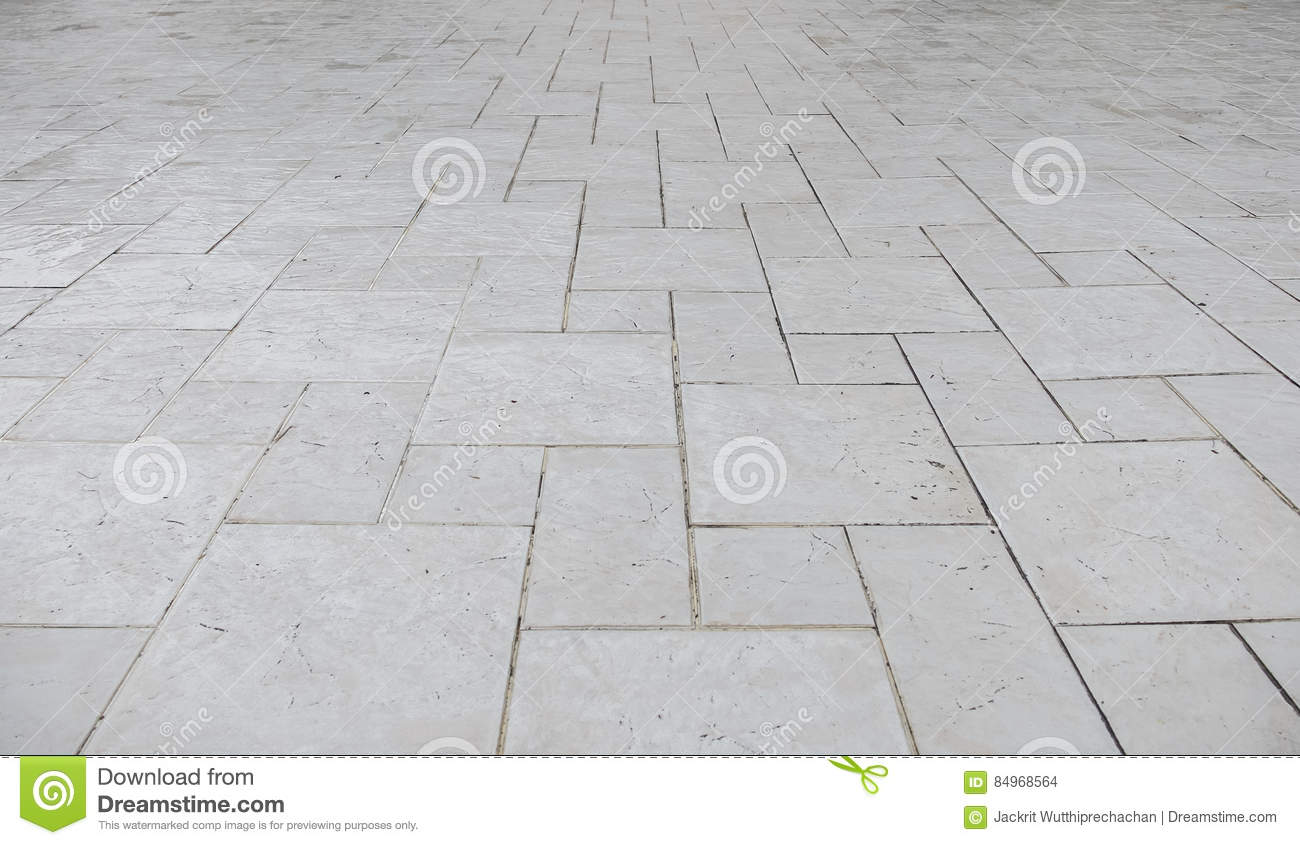 Perspective view of Grunge White Square Brick Stone on The Ground for Street Road. Sidewalk, Driveway, Pavers