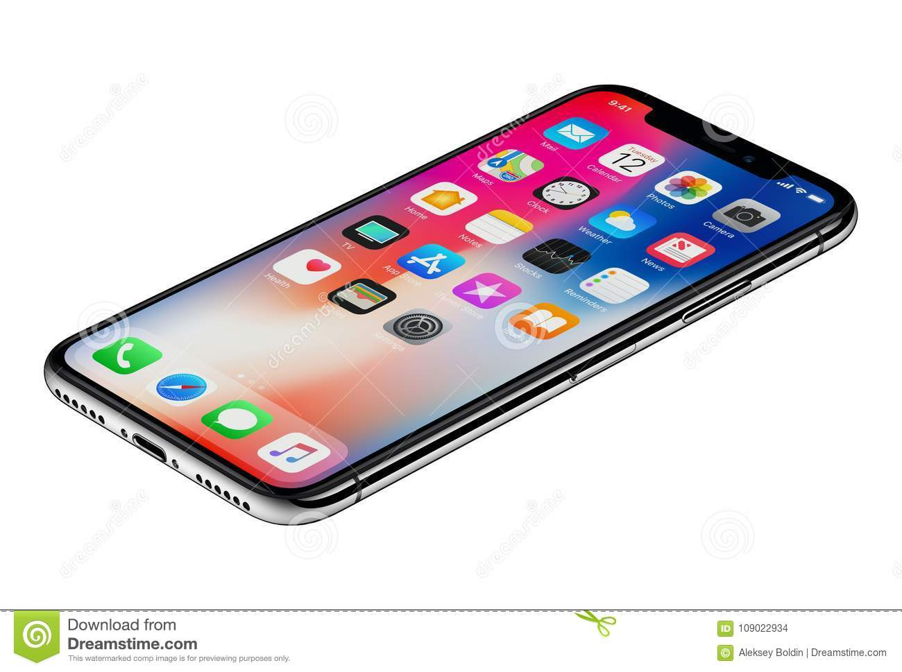 brand new 35bd1 dd135 Perspective View New Apple IPhone X Smartphone Isolated On White ...