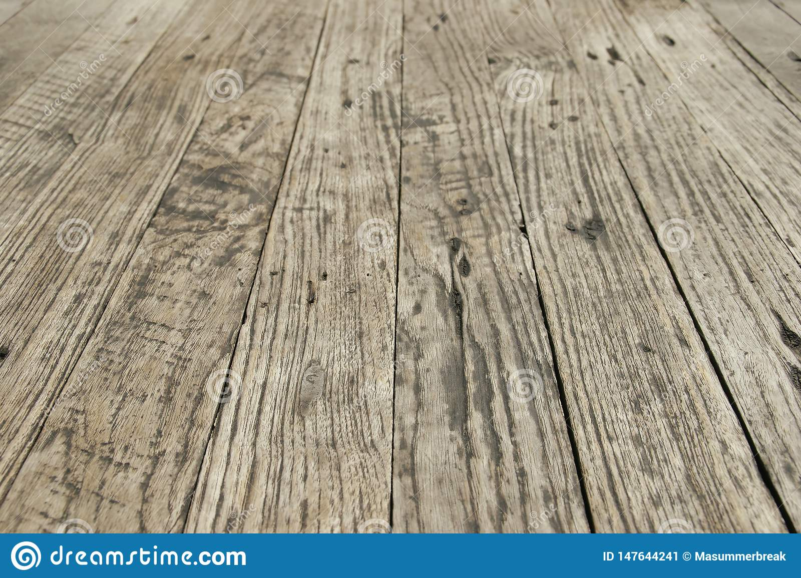 Perspective View of Old Wood Floor as Background