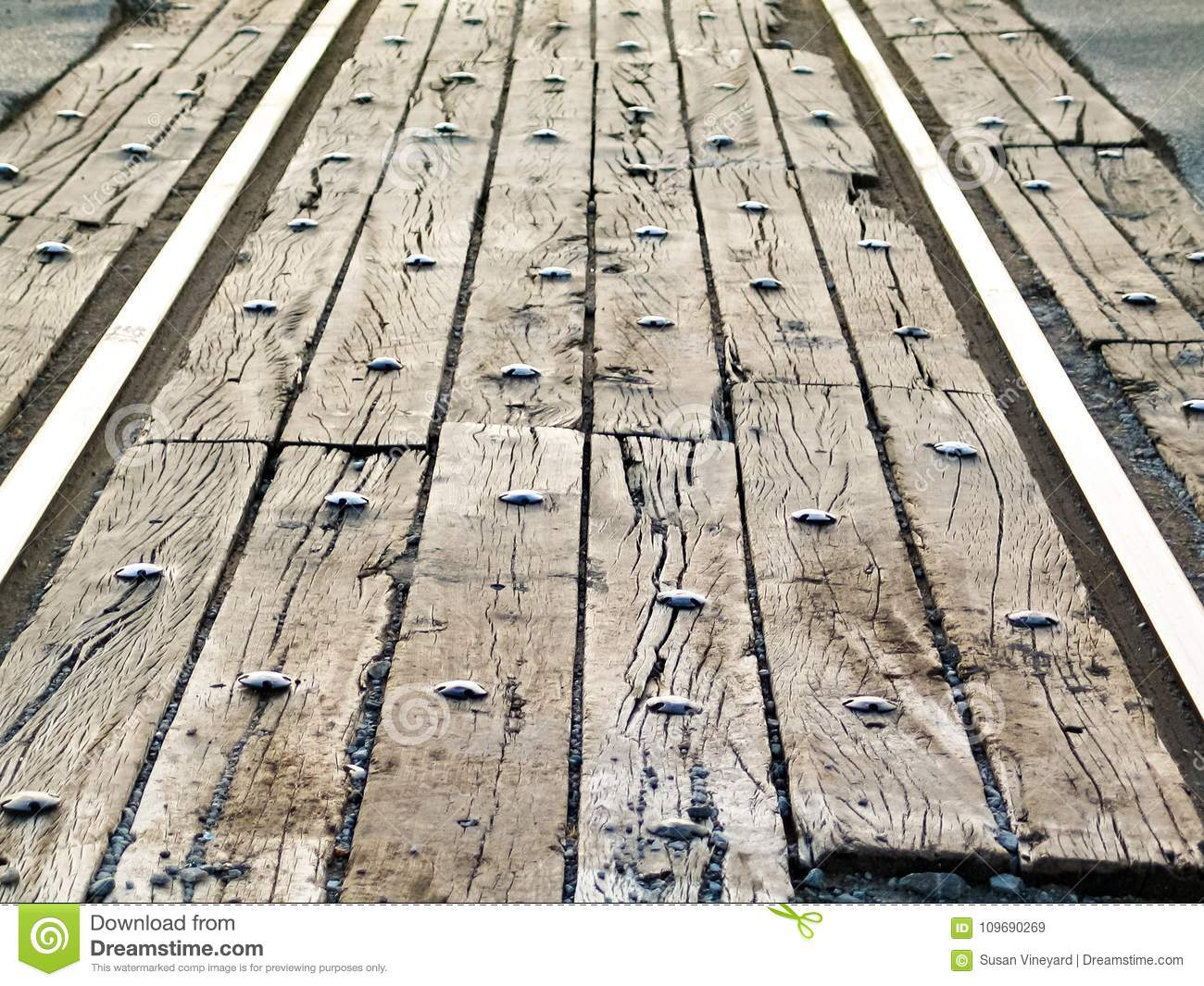 Perspective View Of Rail Road Tracks Street Crossing With