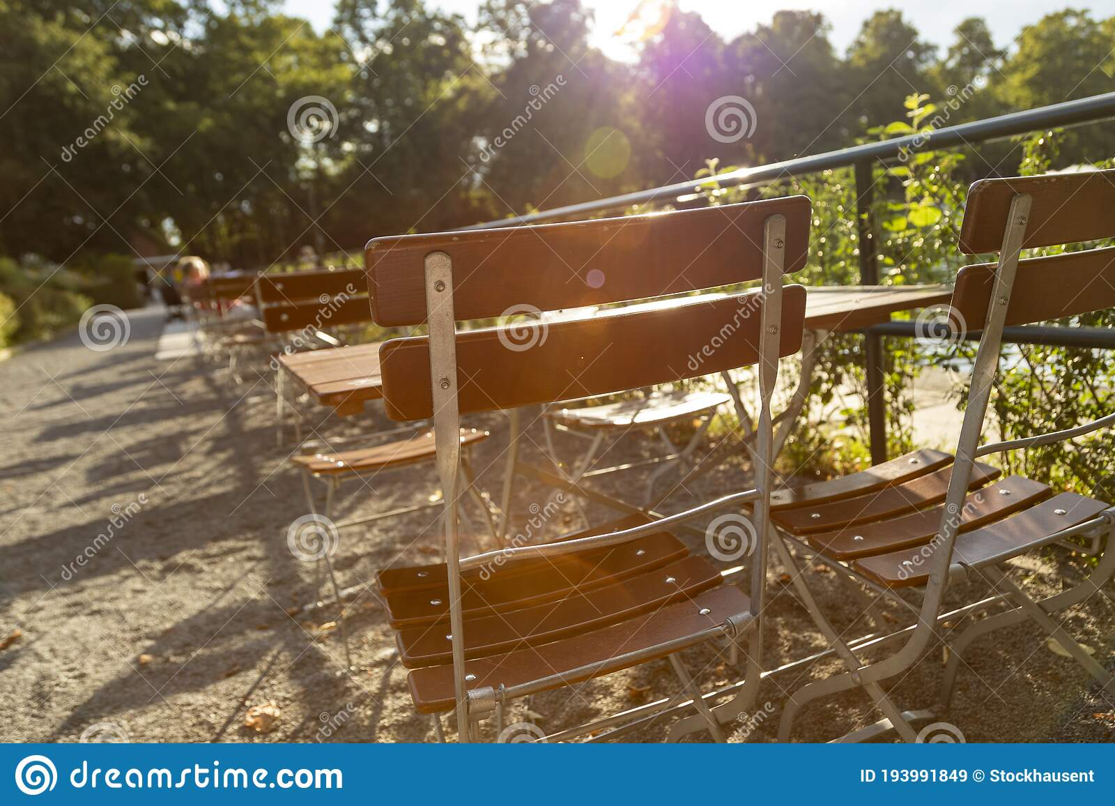 Perspective View Of The Tables In An Outdoor Restaurant Beer Garden Stock Image Image Of Background City 193991849