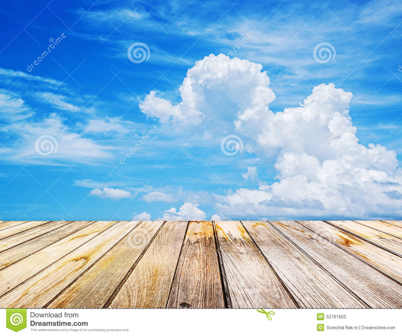 Wood Floor On Beach Sea And Blue Sky For Background Stock: Perspective View To Sparse White Clouds In The Blue Sky