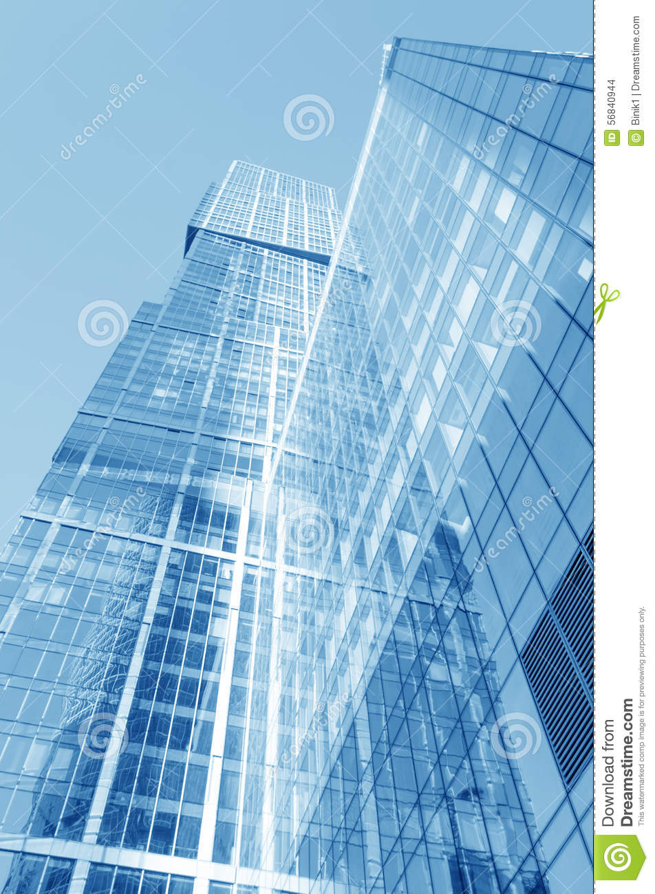 Low Angle View To Light Glass Buildings Of Business Center: Perspective Wide Angle View To Blue Glass Building