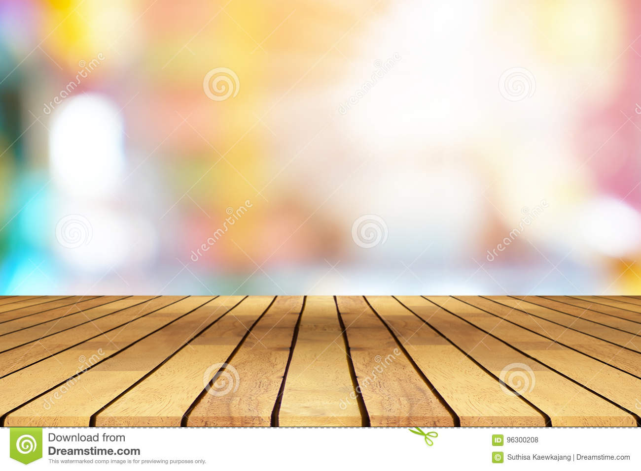 Perspective Wooden Table On Top Over Blur Coffee Shop Background Stock Photo Image Of Blurred Empty 96300208
