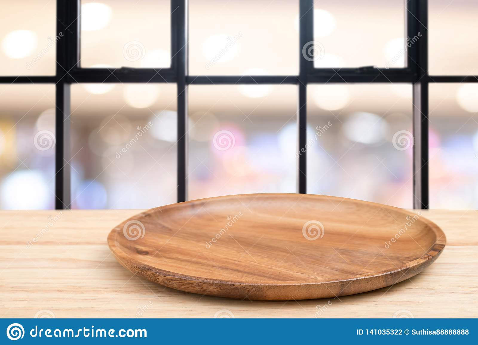 Perspective Wooden Table And Wooden Tray On Top Over Blur Coffee Shop Background Can Be Used Mock Up For Montage Products Display Stock Photo Image Of Kitchen Defocused 141035322