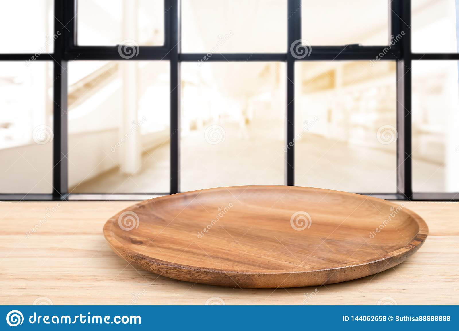 Perspective Wooden Table And Wooden Tray On Top Over Blur Coffee Shop Background Can Be Used Mock Up For Montage Products Display Stock Photo Image Of Coffee Cafe 144062658