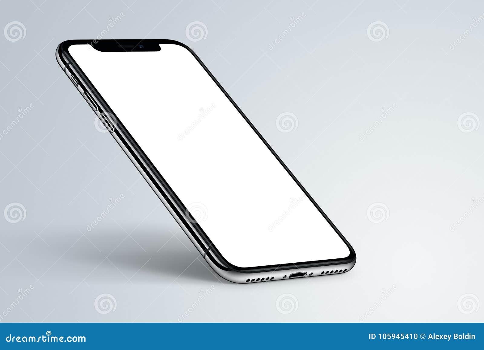 Perspektivsmartphonemodell med skugga på ljus bakgrund