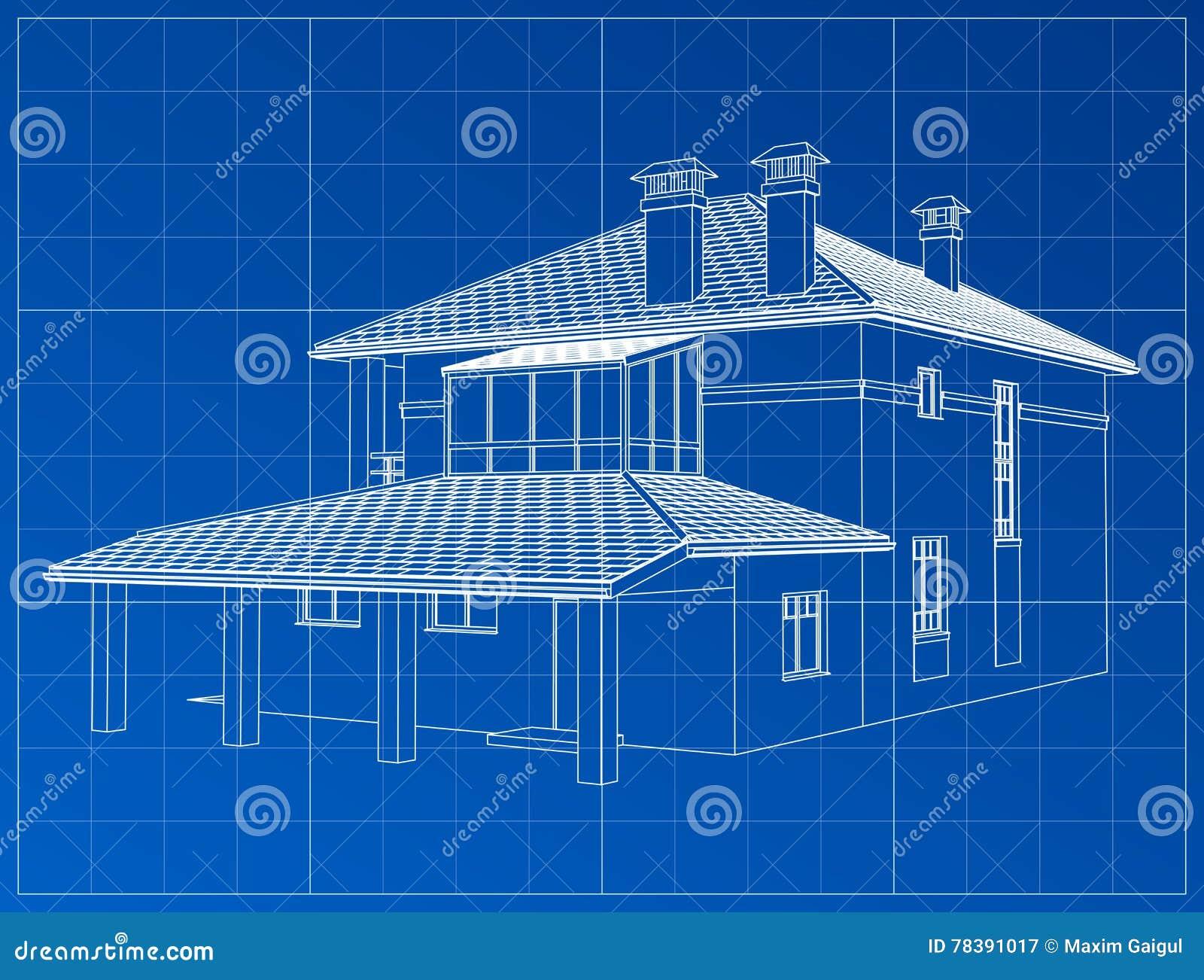 Perspektywa 3D odpłaca się budynku wireframe