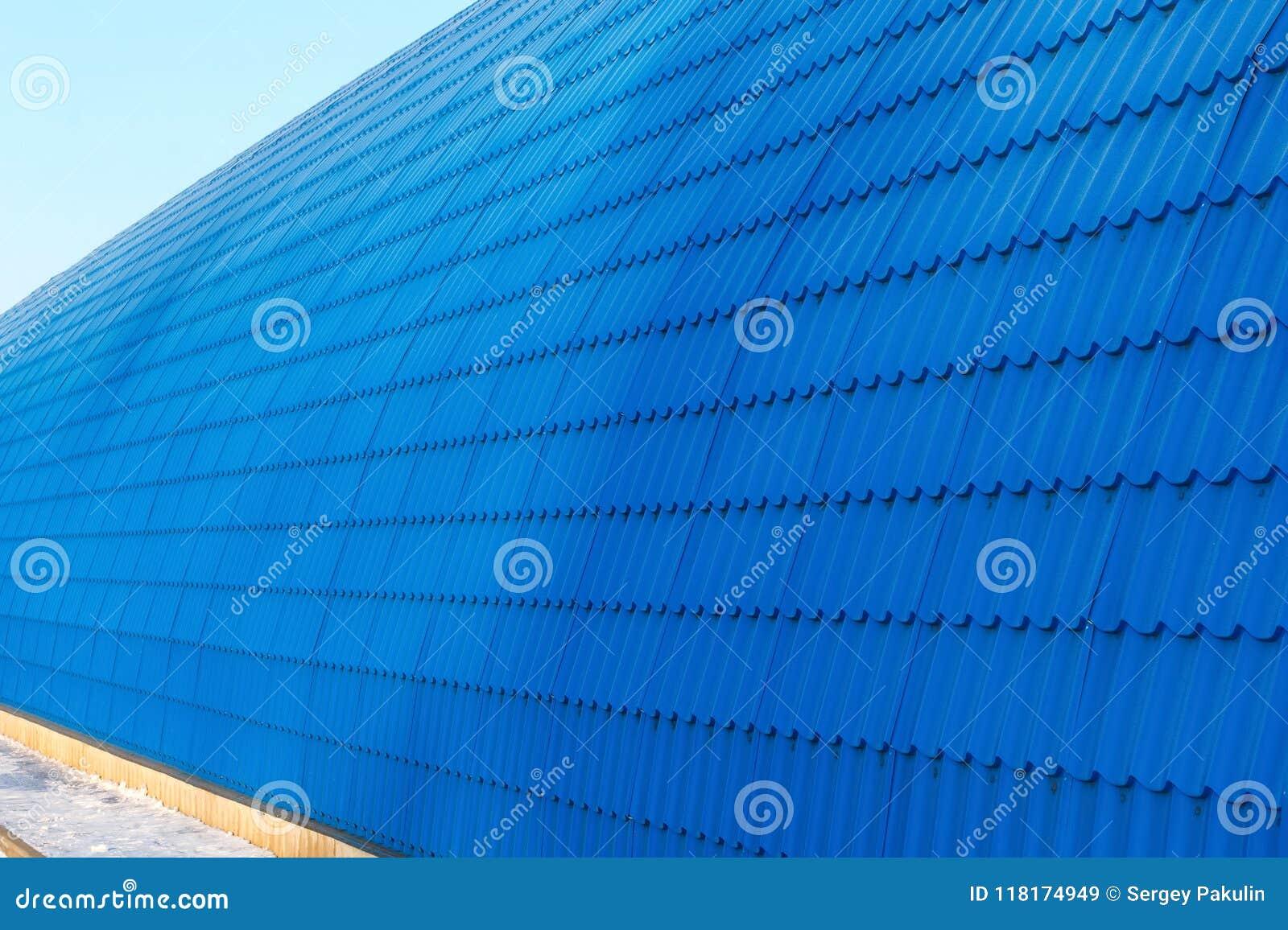 Perspektywa hangar ściana od błękit płytki