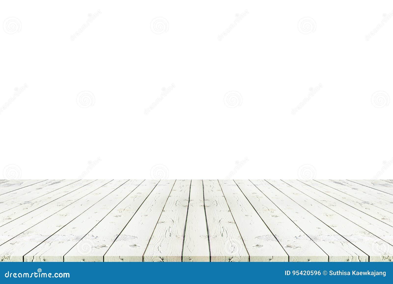 Perspektywa pusty biały drewniany stół z białym tła inclu