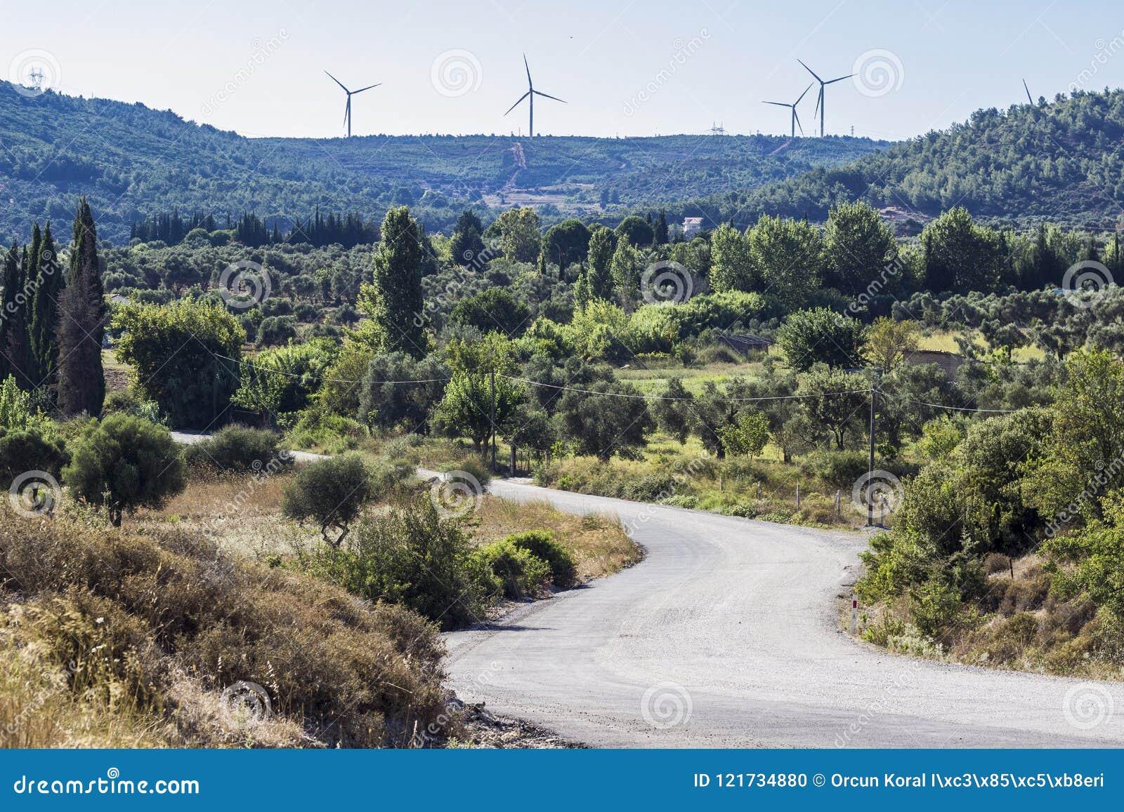 Perspektywa strzał pusta wyginająca się droga na okręg administracyjny stronie w Izmir przy Seferihisar