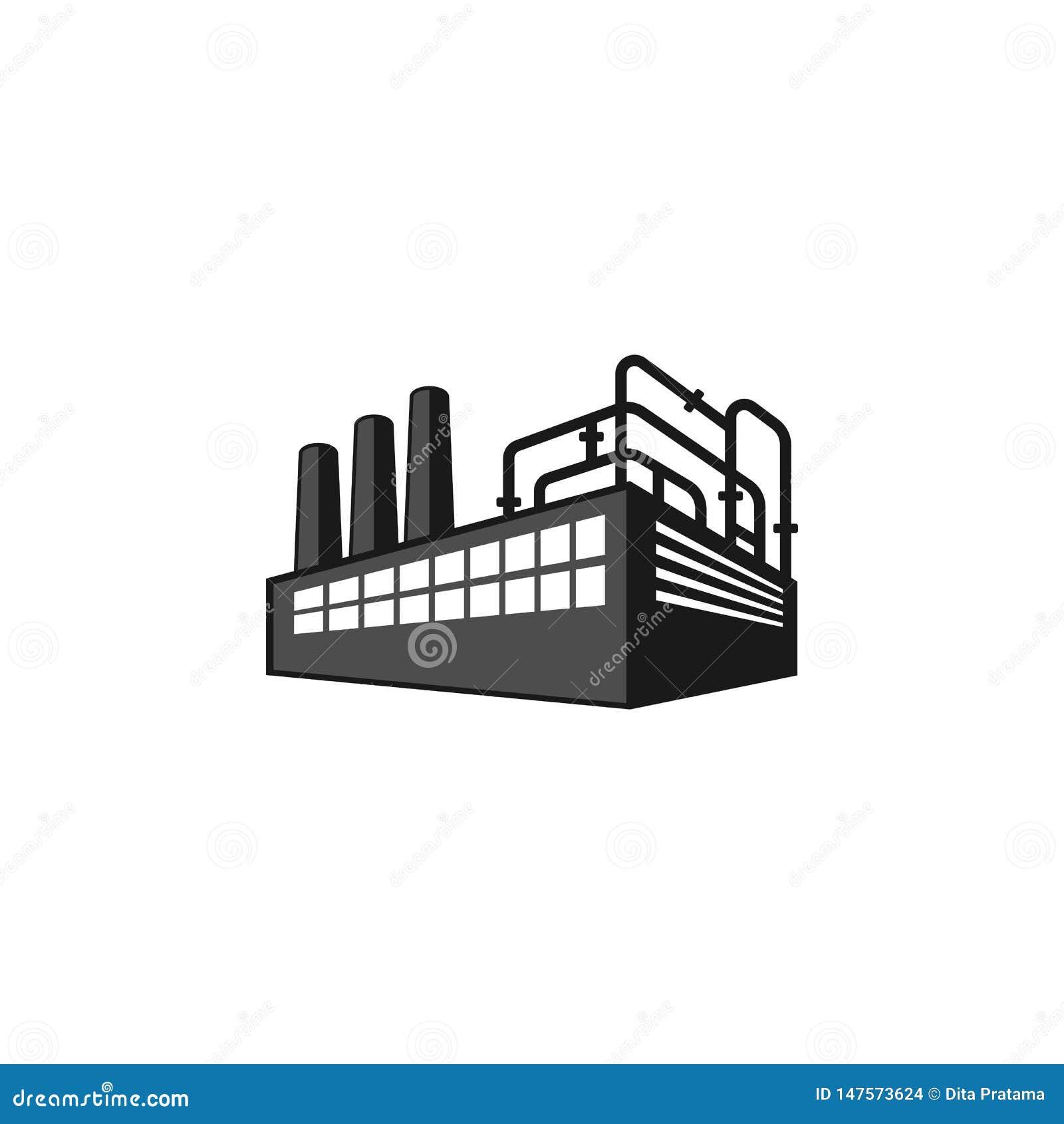 Perspektywiczny fabryczny sylwetka logo