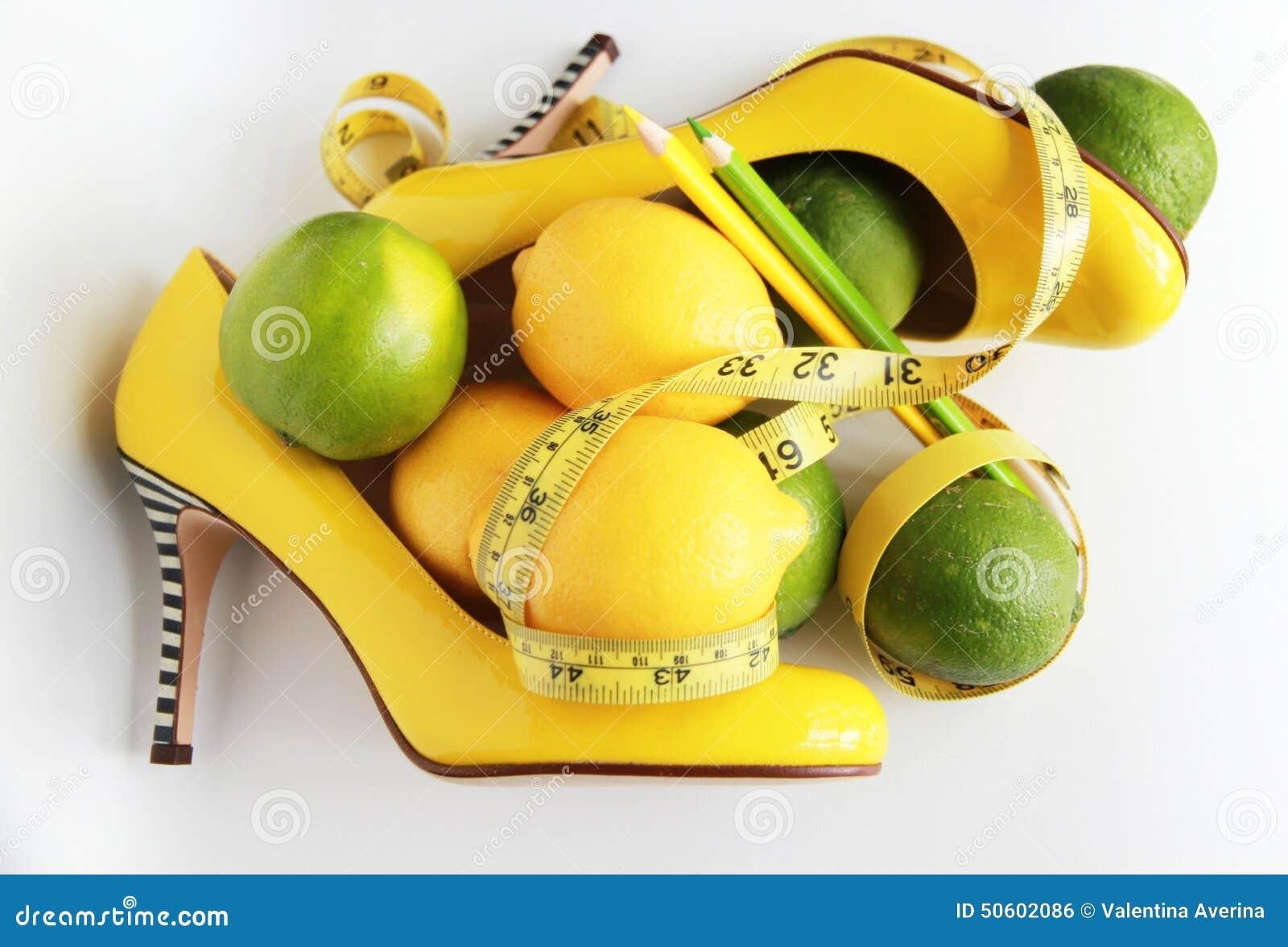 Perte de poids Bande de mesure enroulée autour du citron