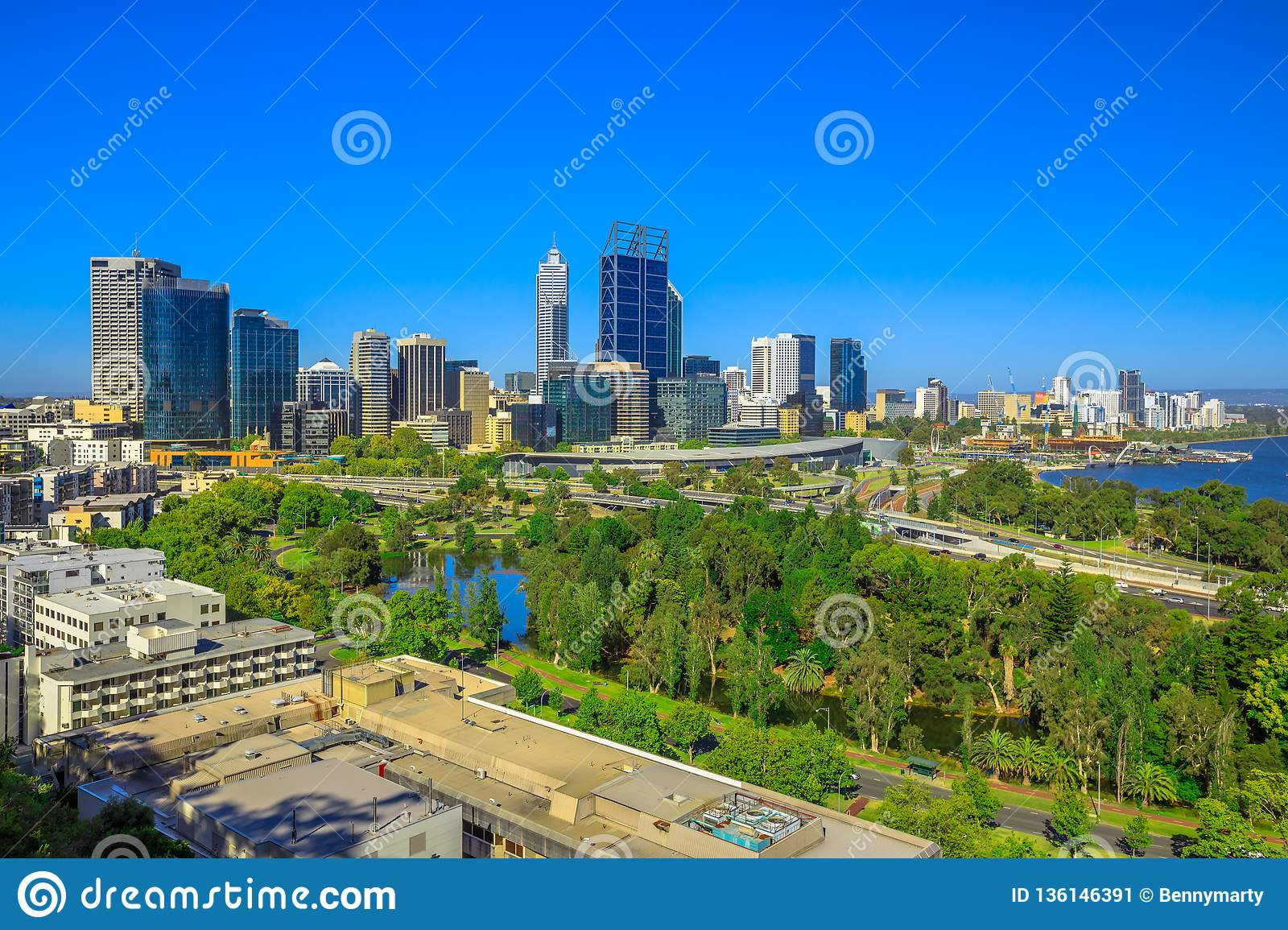 Perth Skyline From Kings Park Stock Image - Image of bridge