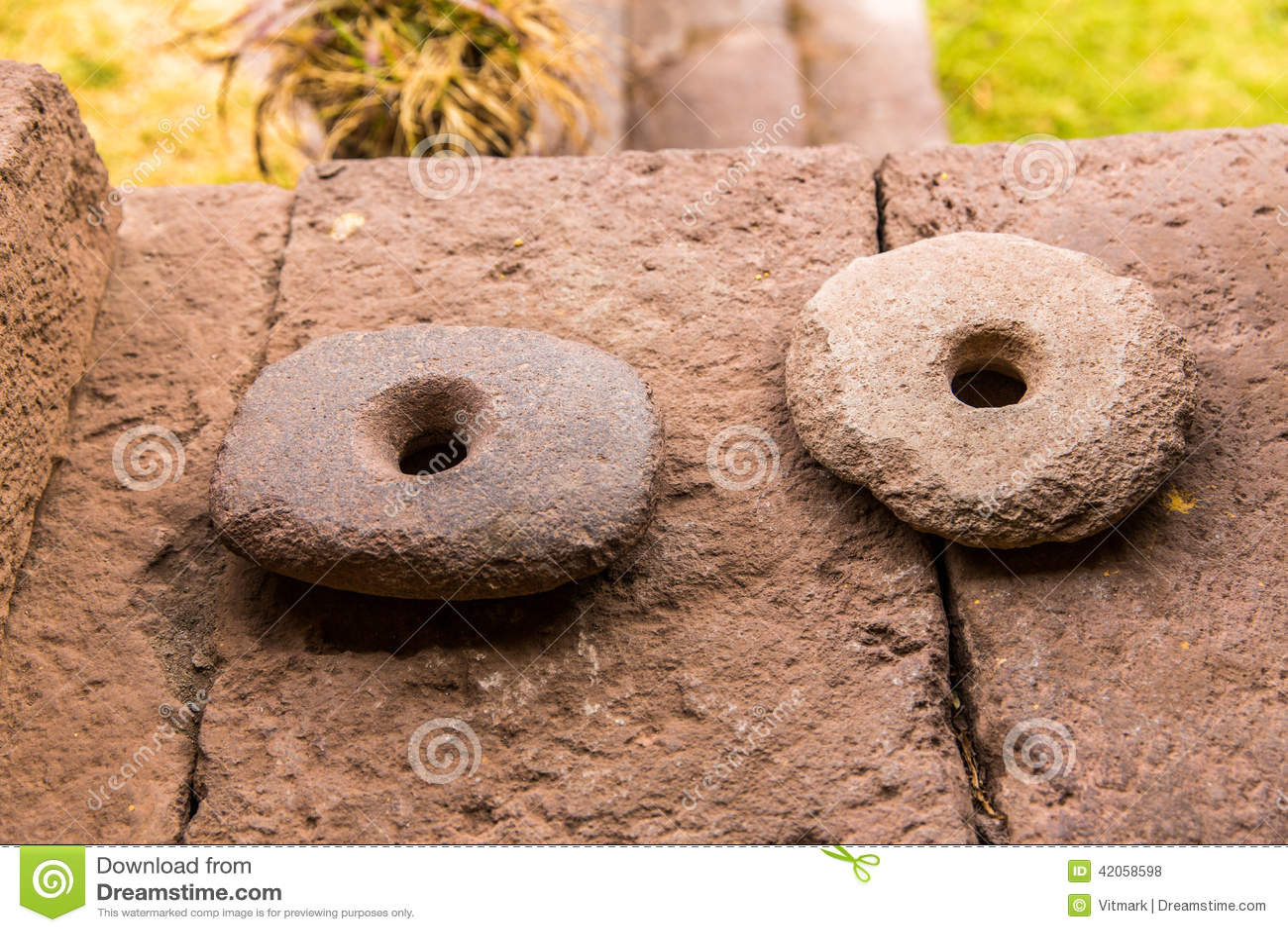 Peru ancient aztec and maya stone sculptures stock photo