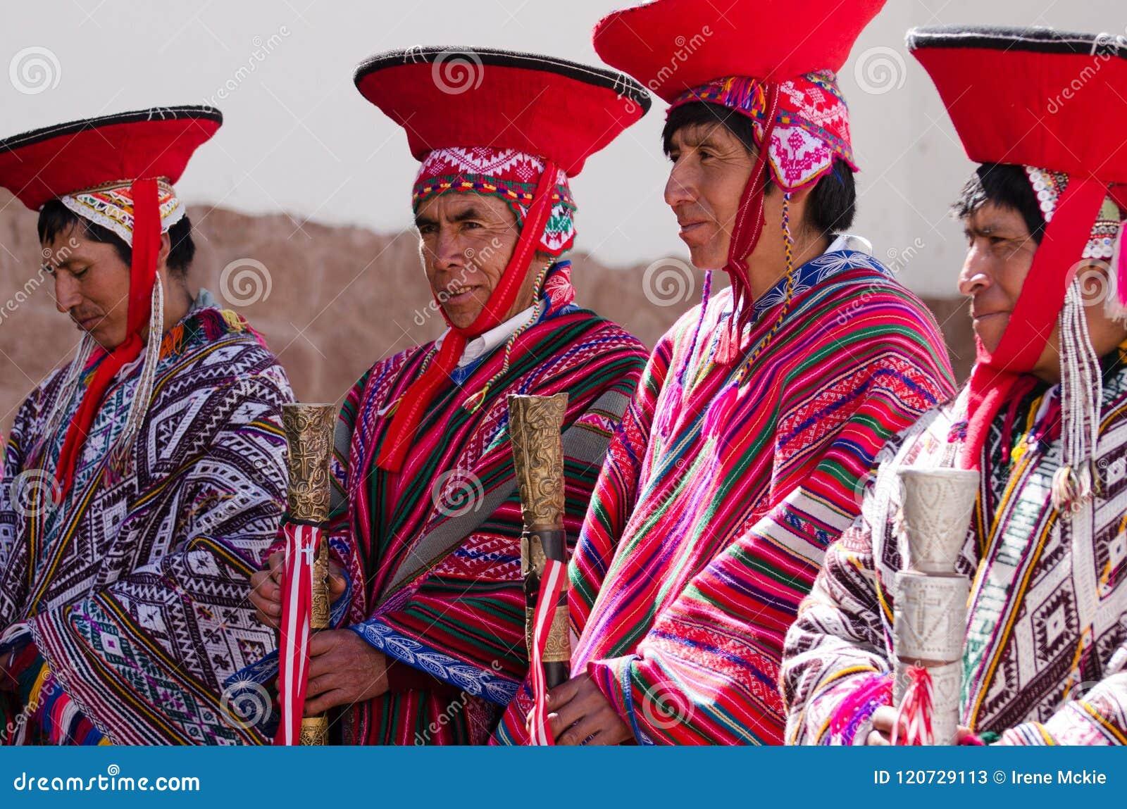Peru religious men, elders standing in line waiting for church service