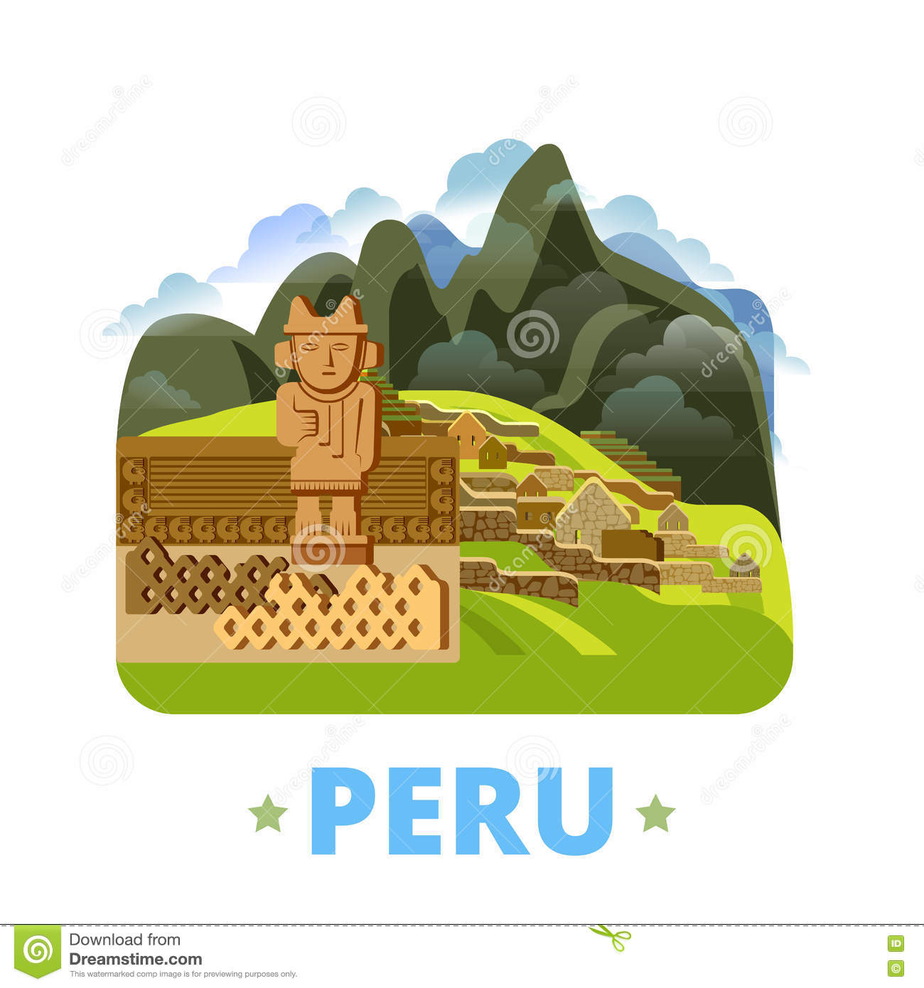 Peru country design template Flat cartoon style we
