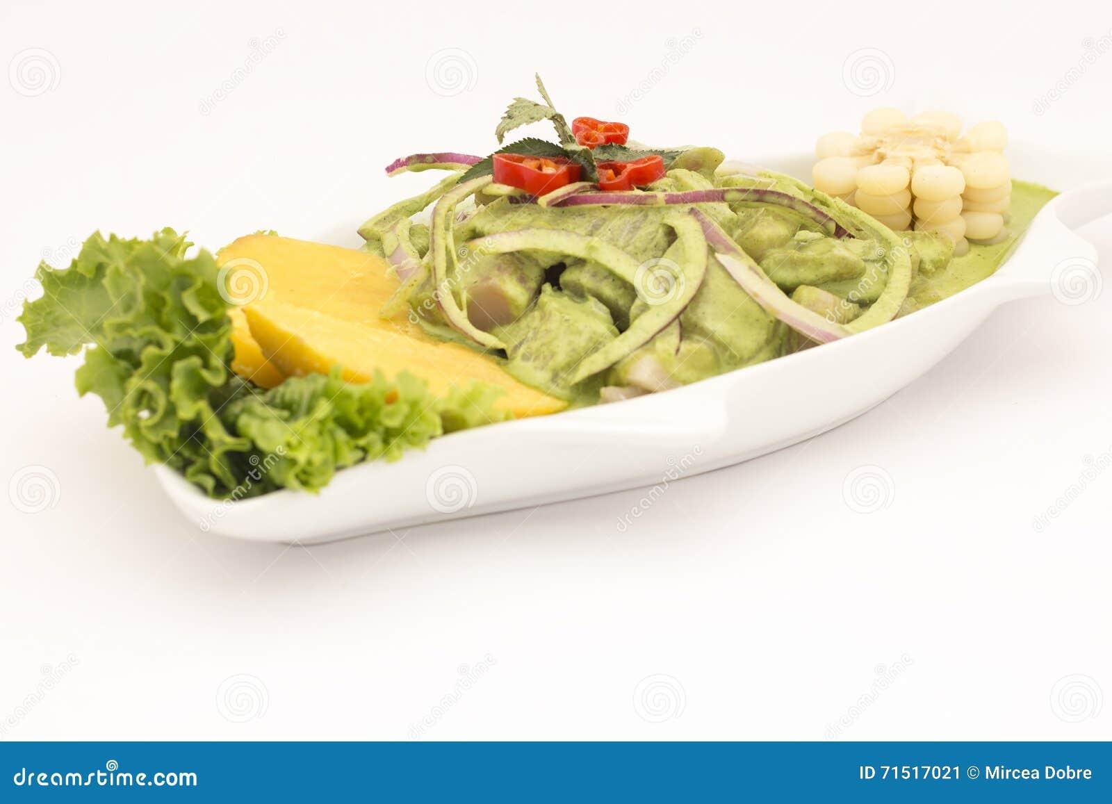 Peru Dish: En Crema Andina de Cebiche (ceviche) Manjericão, coentro, peixe fresco, suco de limão, cebola, potatoe doce, camote