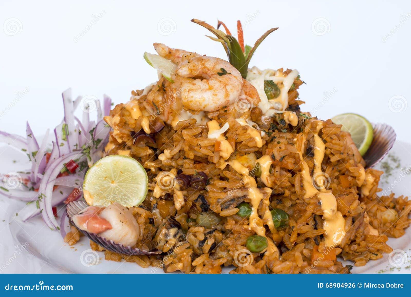 Peru Dish : Riz avec des fruits de mer (escroquerie Mariscos d Arroz)