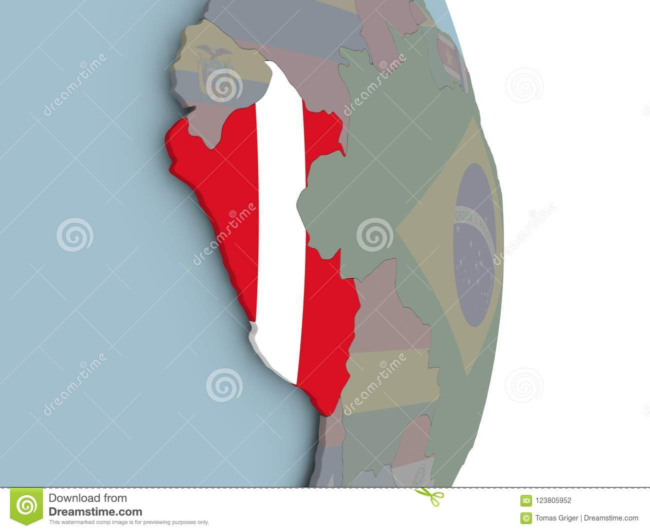 Map Of Peru On Political Globe With Flag Stock Illustration