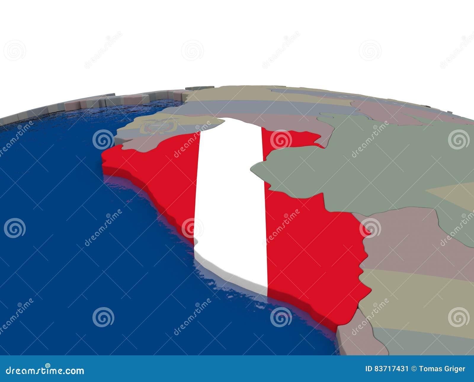 Peru With Flag Stock Illustration