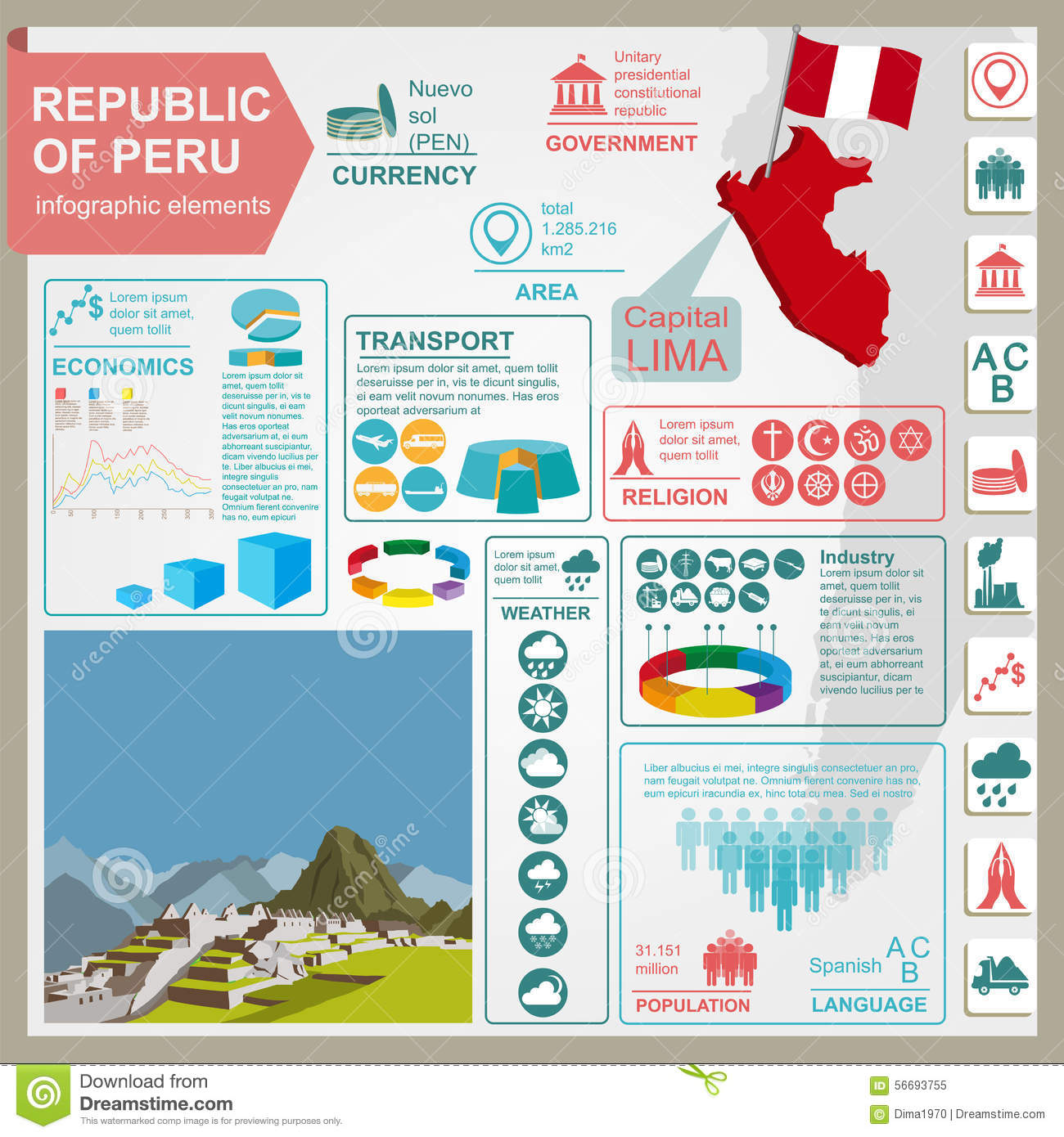 Peru Travel Tips Common Peruvian Phrases For Travel: Peru Infographics, Statistical Data, Sights Stock Vector