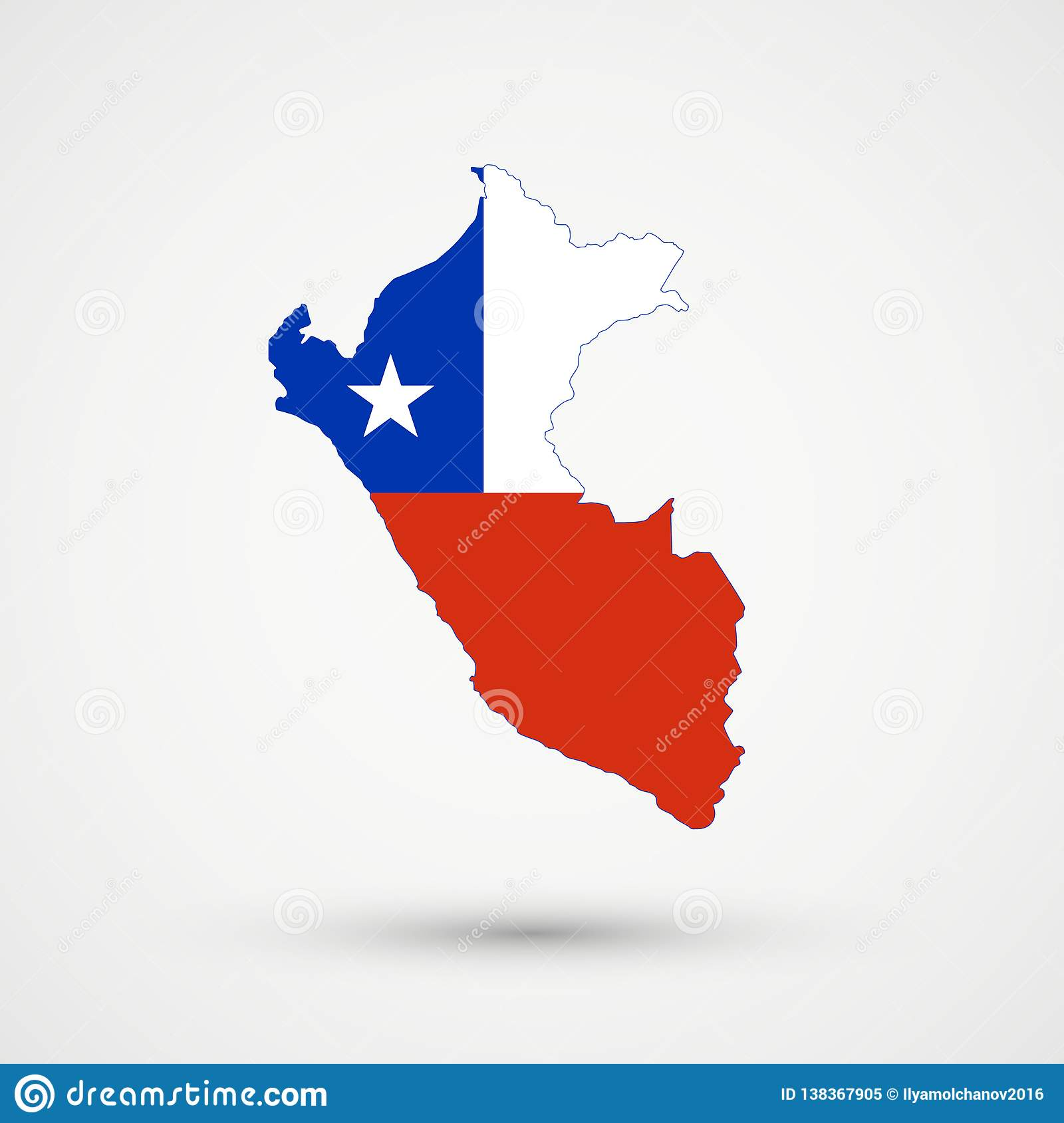 Peru Map In Chile Flag Colors, Editable Vector Stock Vector ... Chile Flag Map on