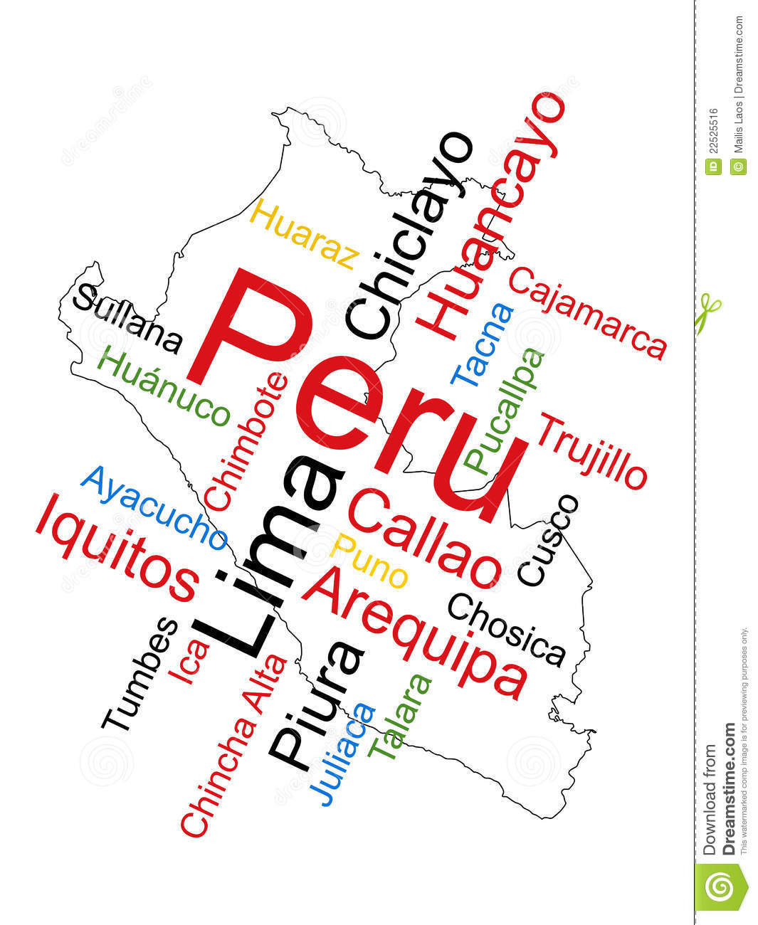 Peru Map Cities.Peru Map And Cities Stock Vector Illustration Of Keywords 22525516