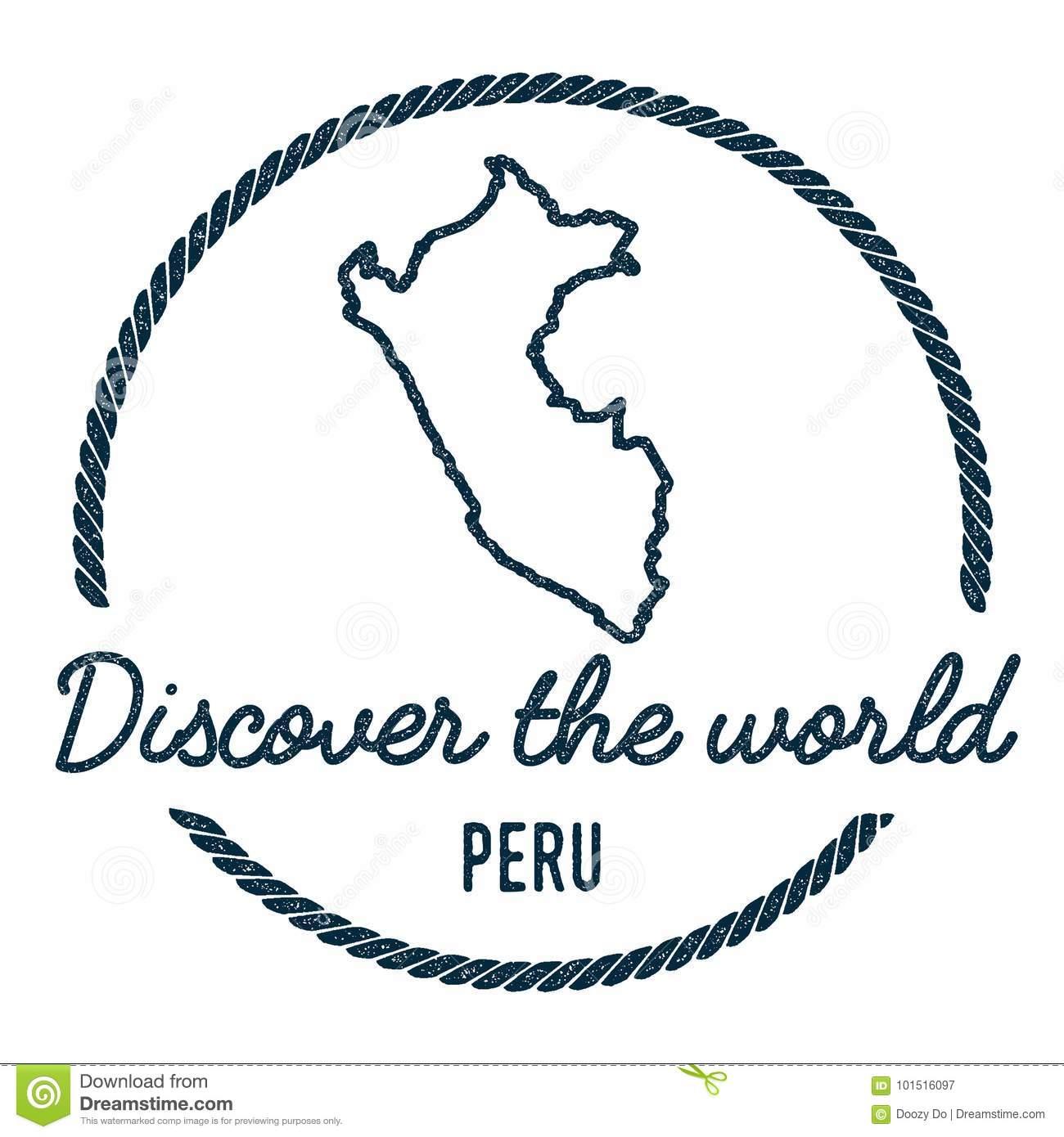 Peru Map Outline. Vintage Discover The World. Stock Vector ...