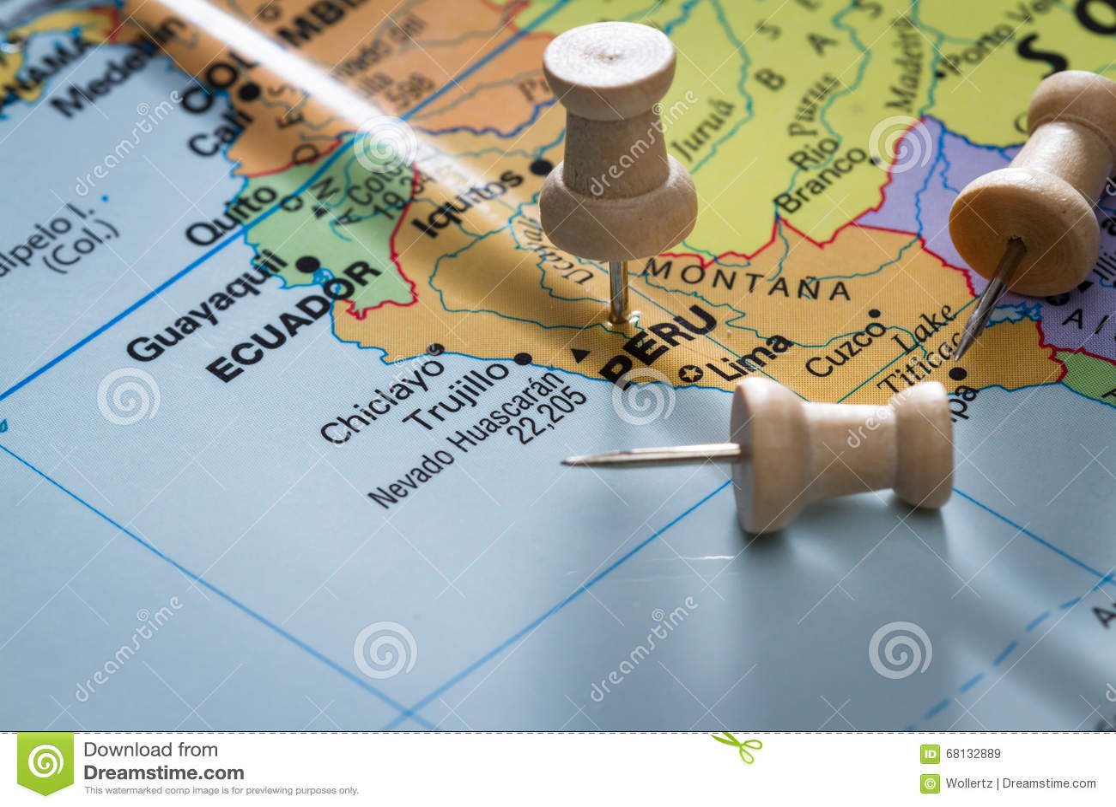 Peru markierte auf einer Karte