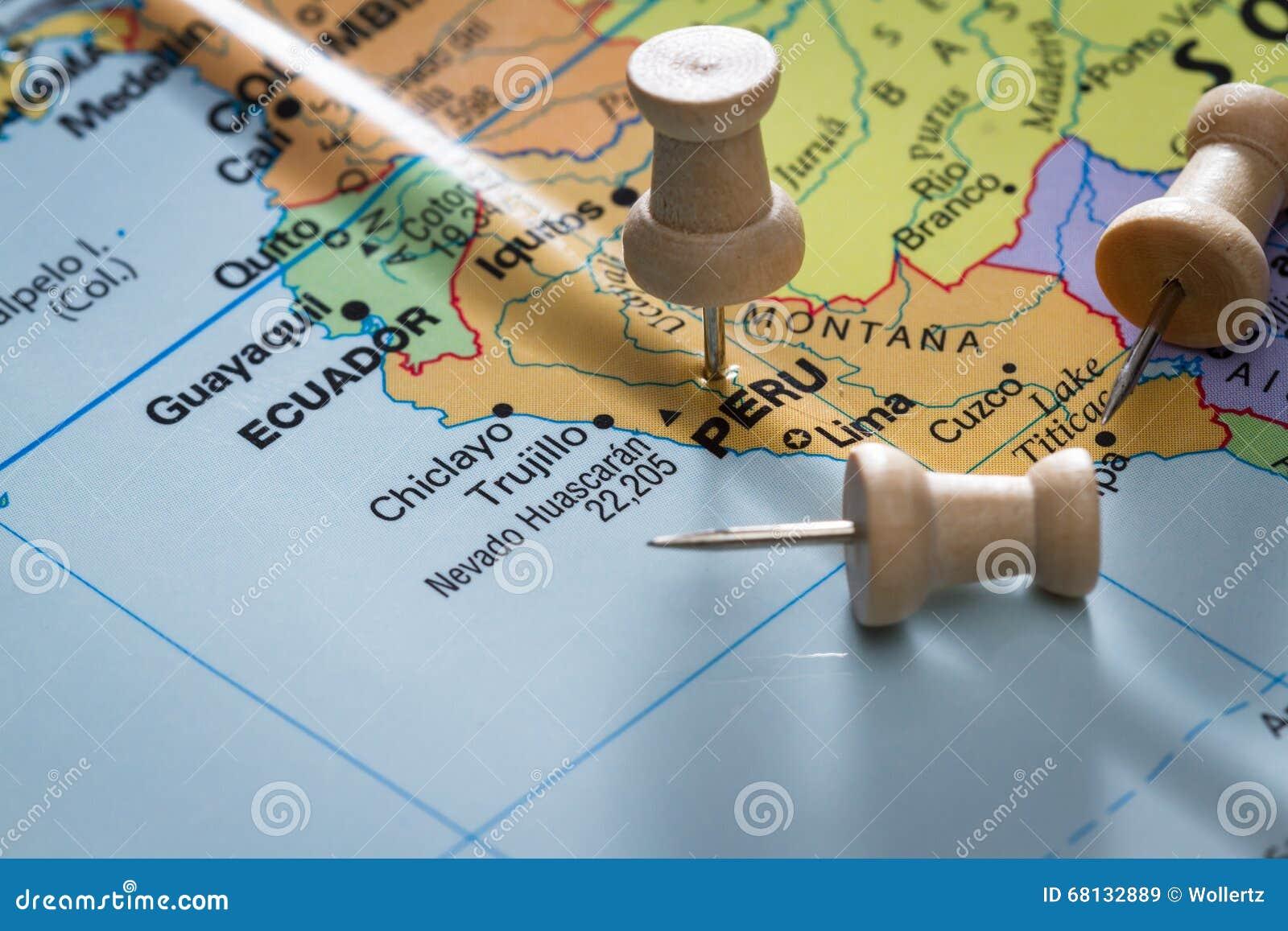 Peru merkte op een kaart