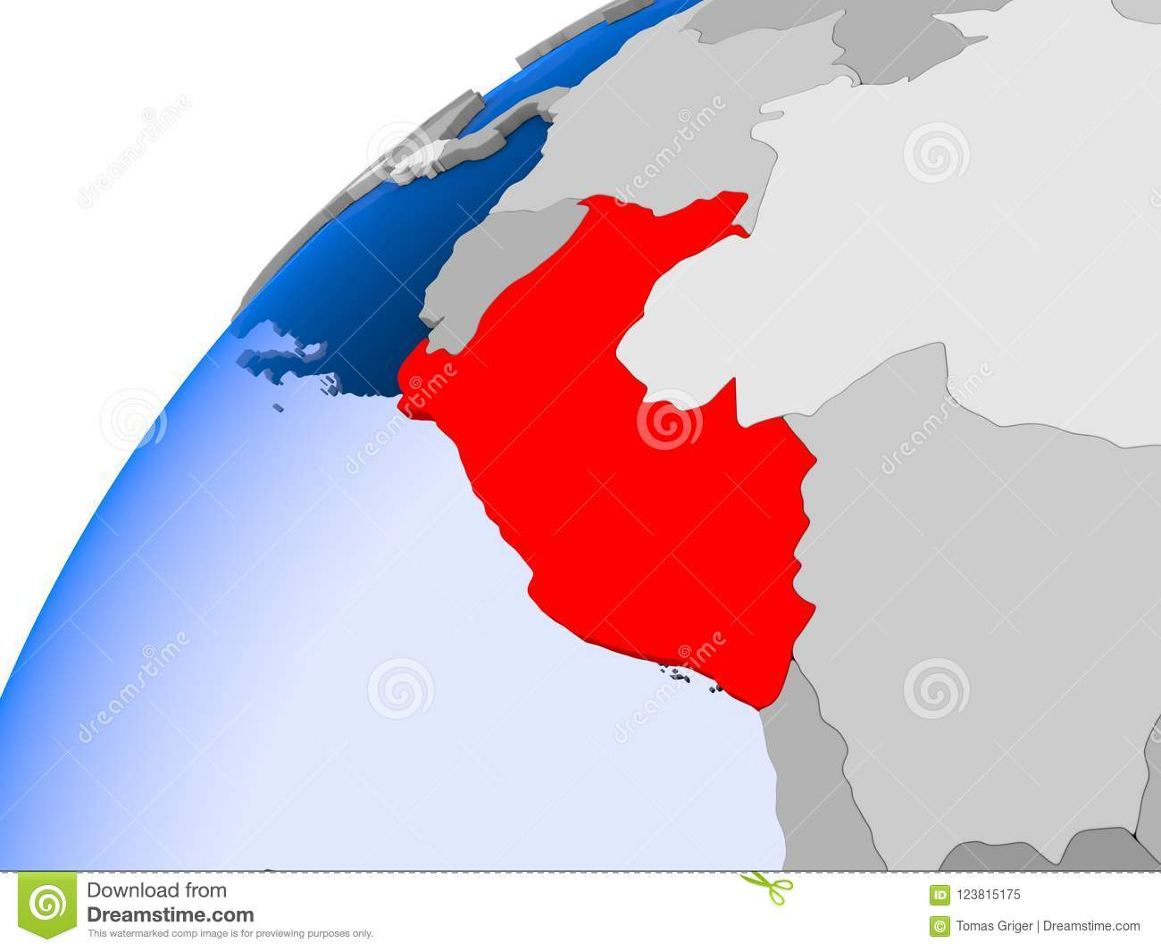 Map Of Peru In Red Stock Illustration Illustration Of Political