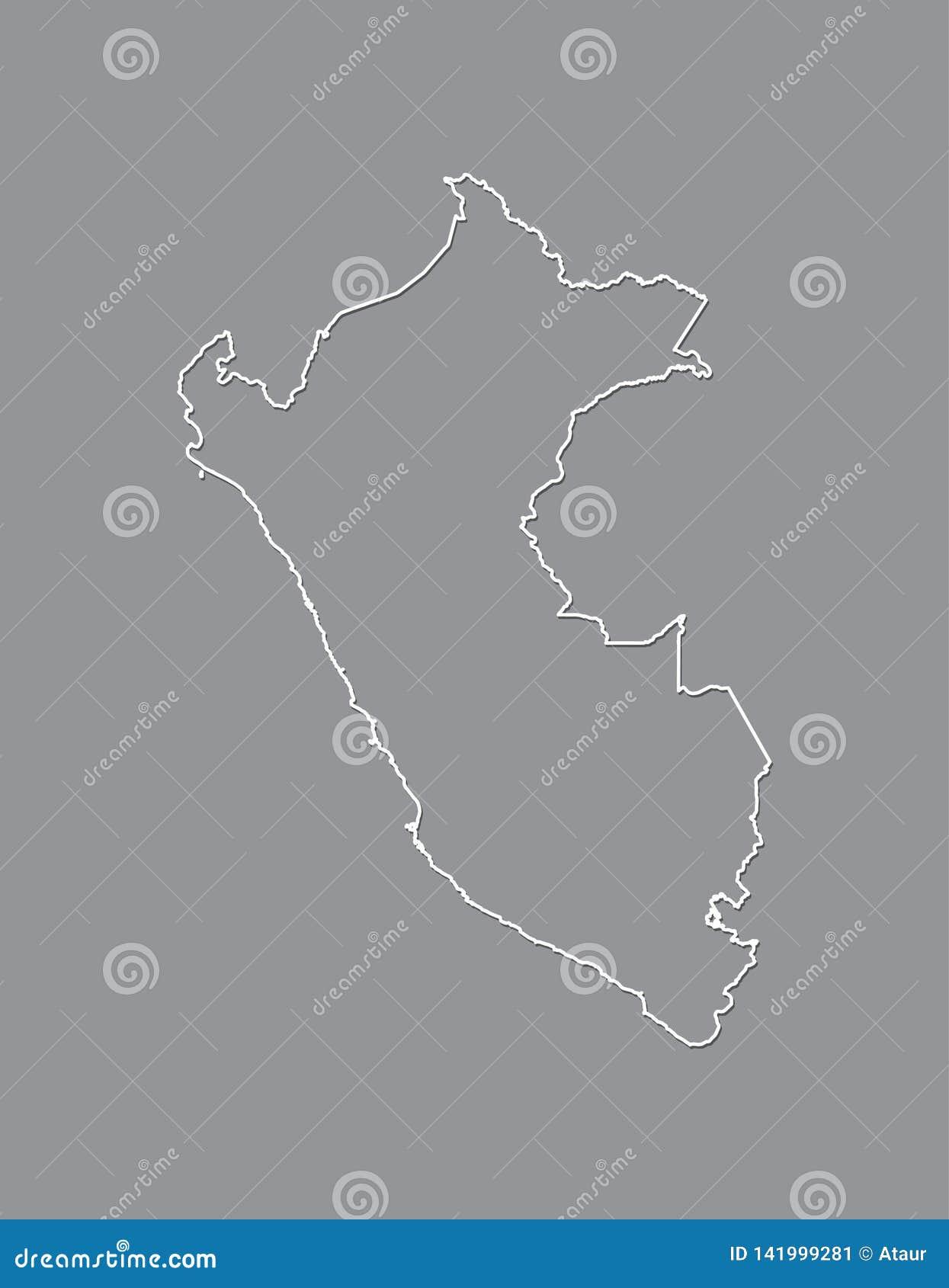 Peru-Vektorkarte mit einzelner Grenze Grenze unter Verwendung der weißen Farbe auf dunkler Hintergrundillustration