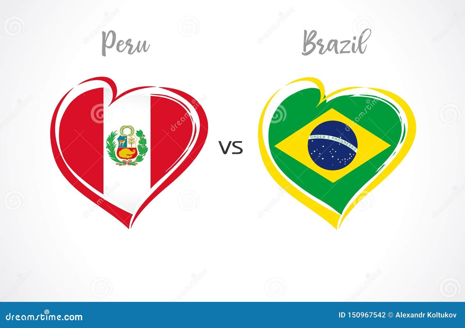 Peru vs Brasilien, landslagfotbollflaggor på vit bakgrund