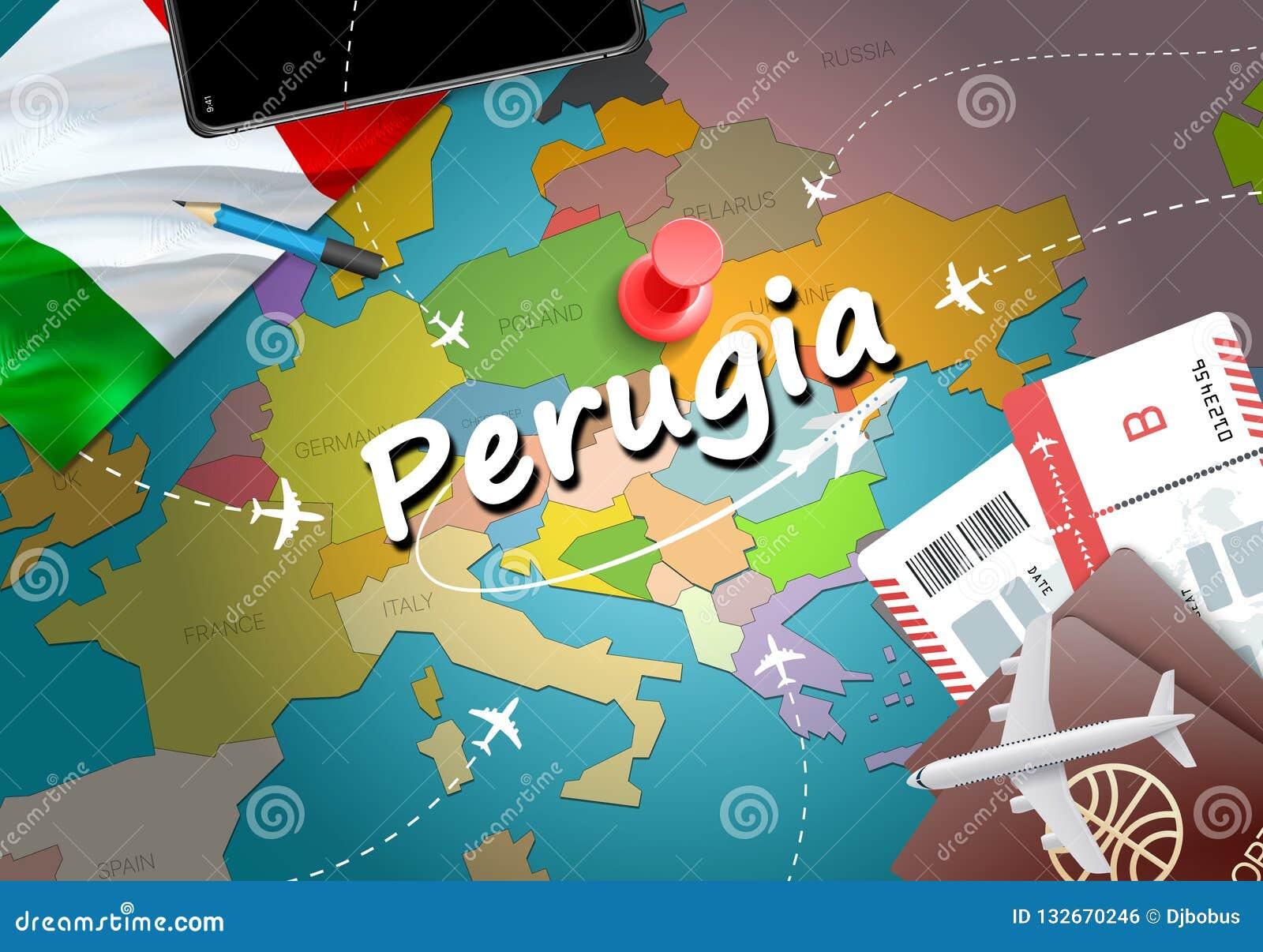 Perugia City Travel And Tourism Destination Concept Italy Flag