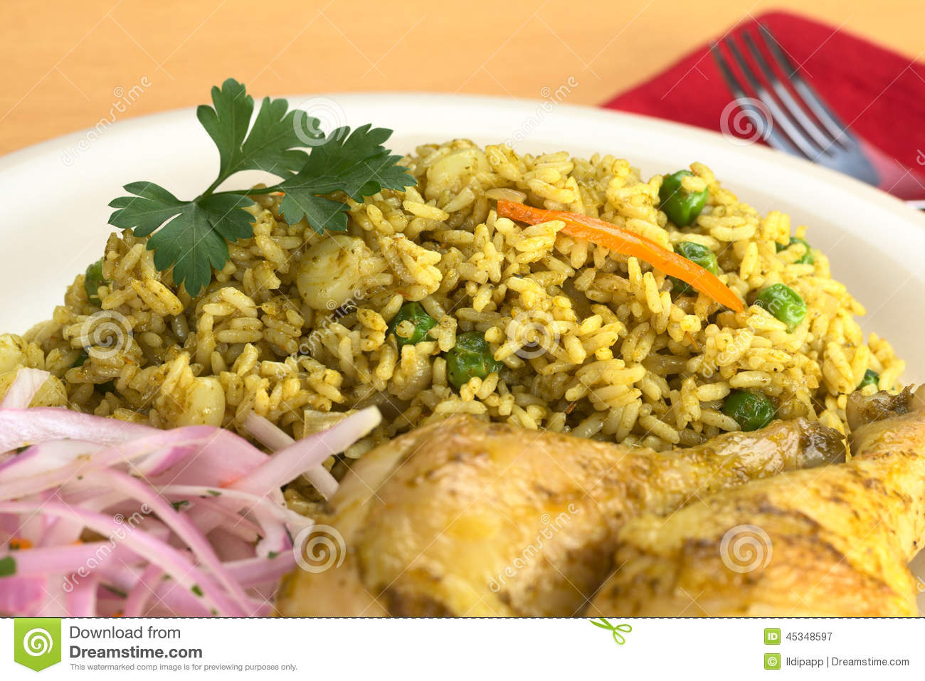Peruvian Arroz Con Pollo (Rice With Chicken) Stock Photo - Image ...