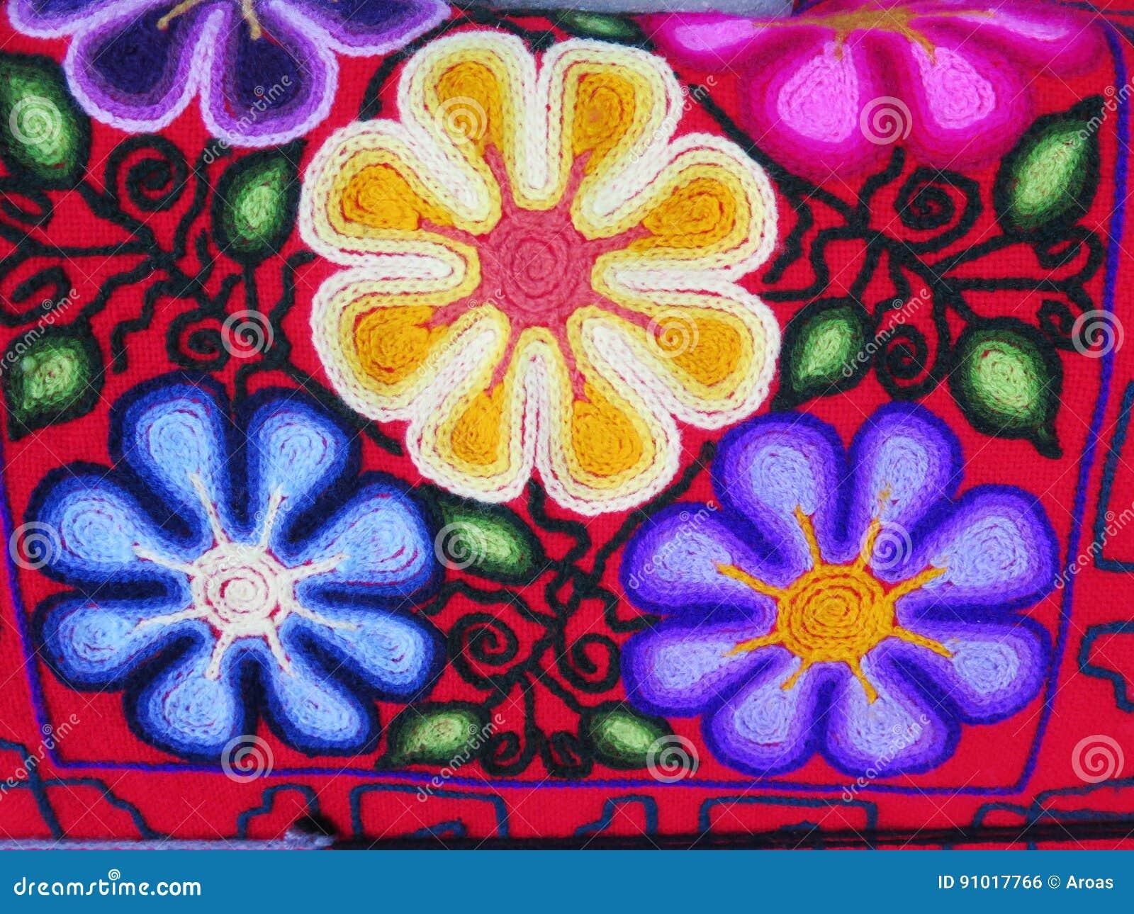 Peruvian Hand Made Flower Woolen Fabric Stock Photo