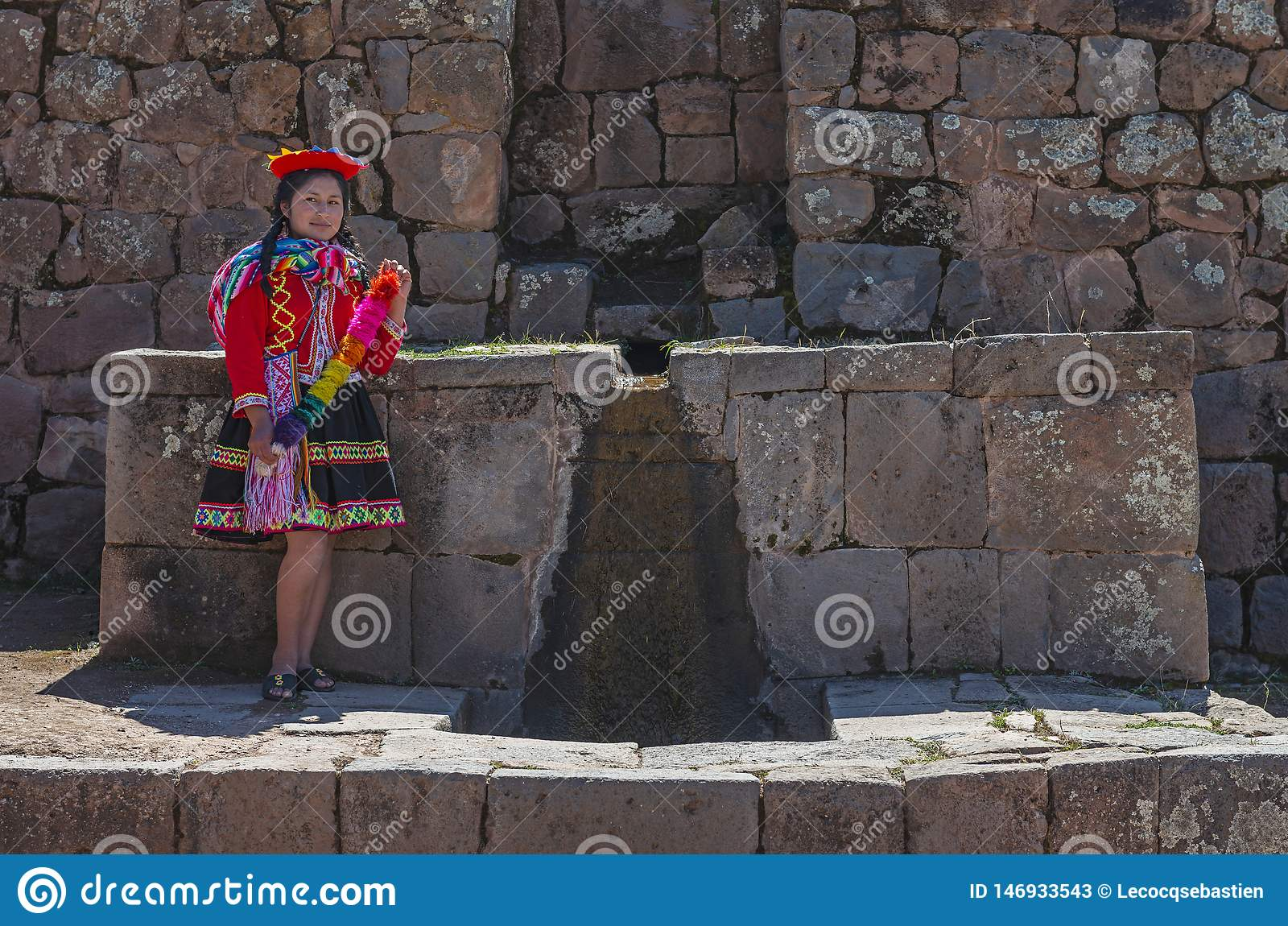 Peruvian Indigenous Woman by a Fountain, Cusco