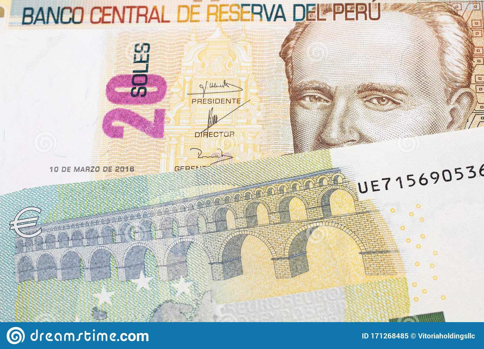 A Peruvian Sol Note With European Money Stock Image - Image of