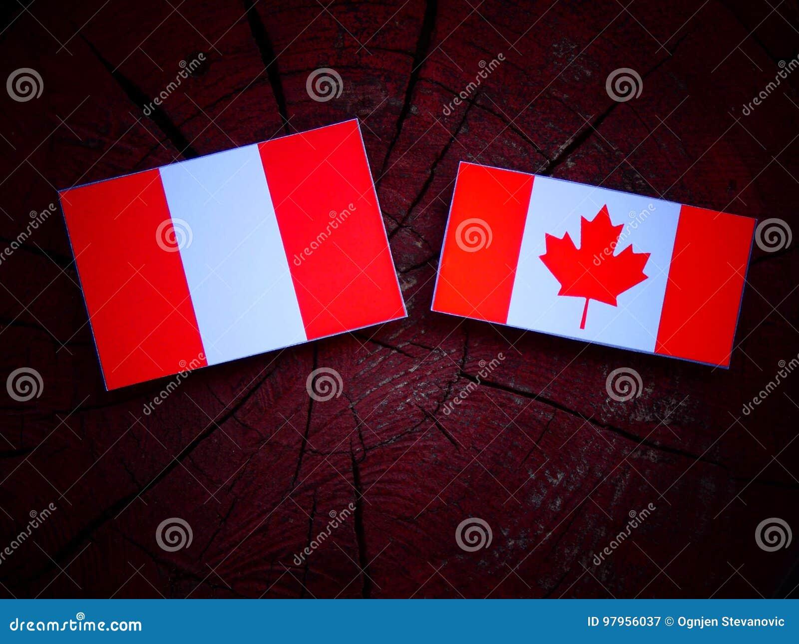 Peruwiańska flaga z kanadyjczyk flaga na drzewnym fiszorku odizolowywającym