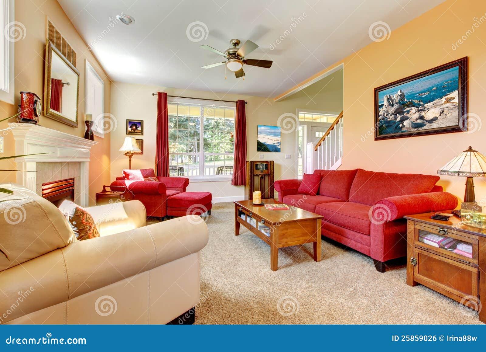 Perzik en rode mooie woonkamer royalty vrije stock afbeelding ...