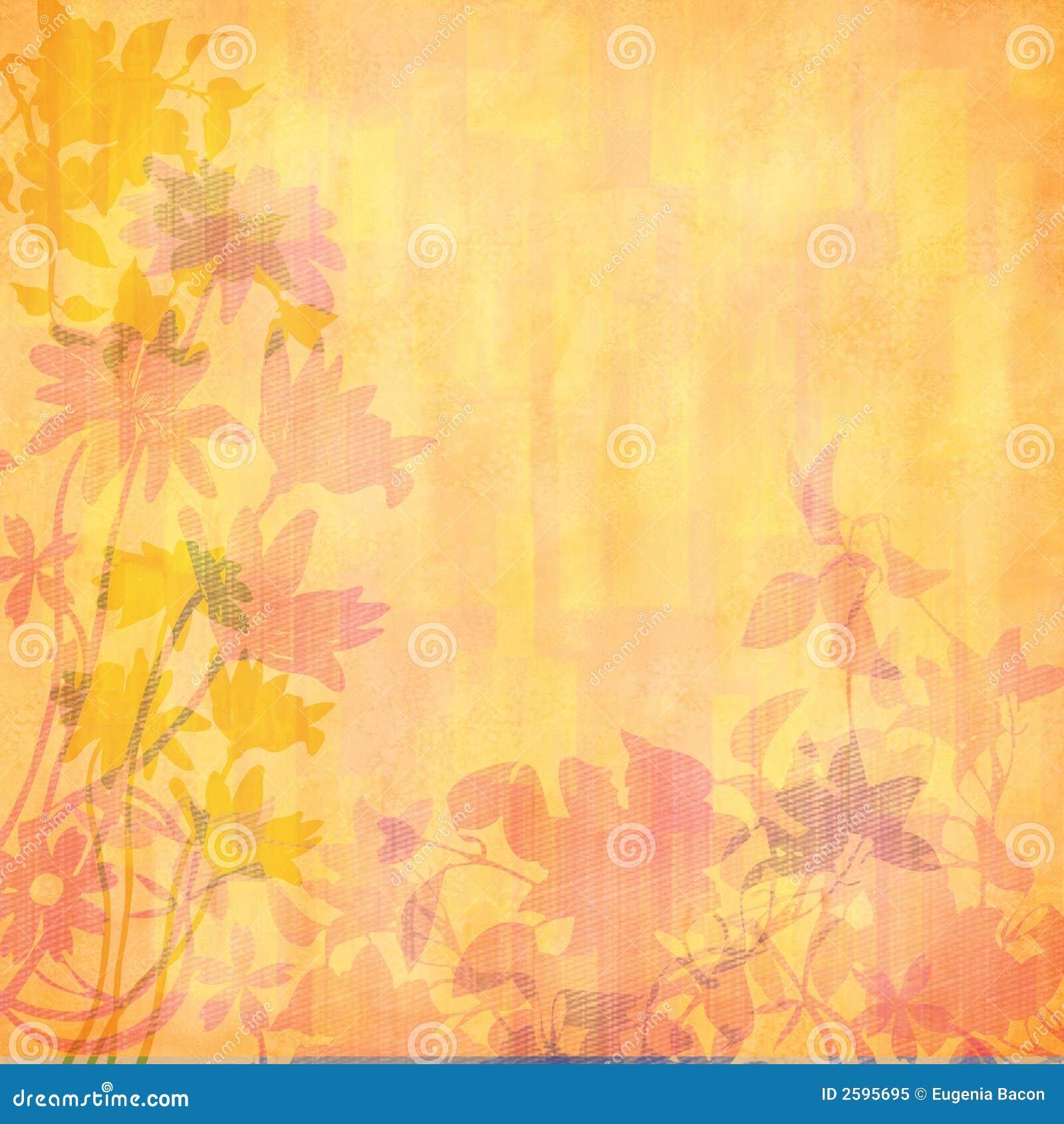 Perzik gesilhouetteerde bloemen